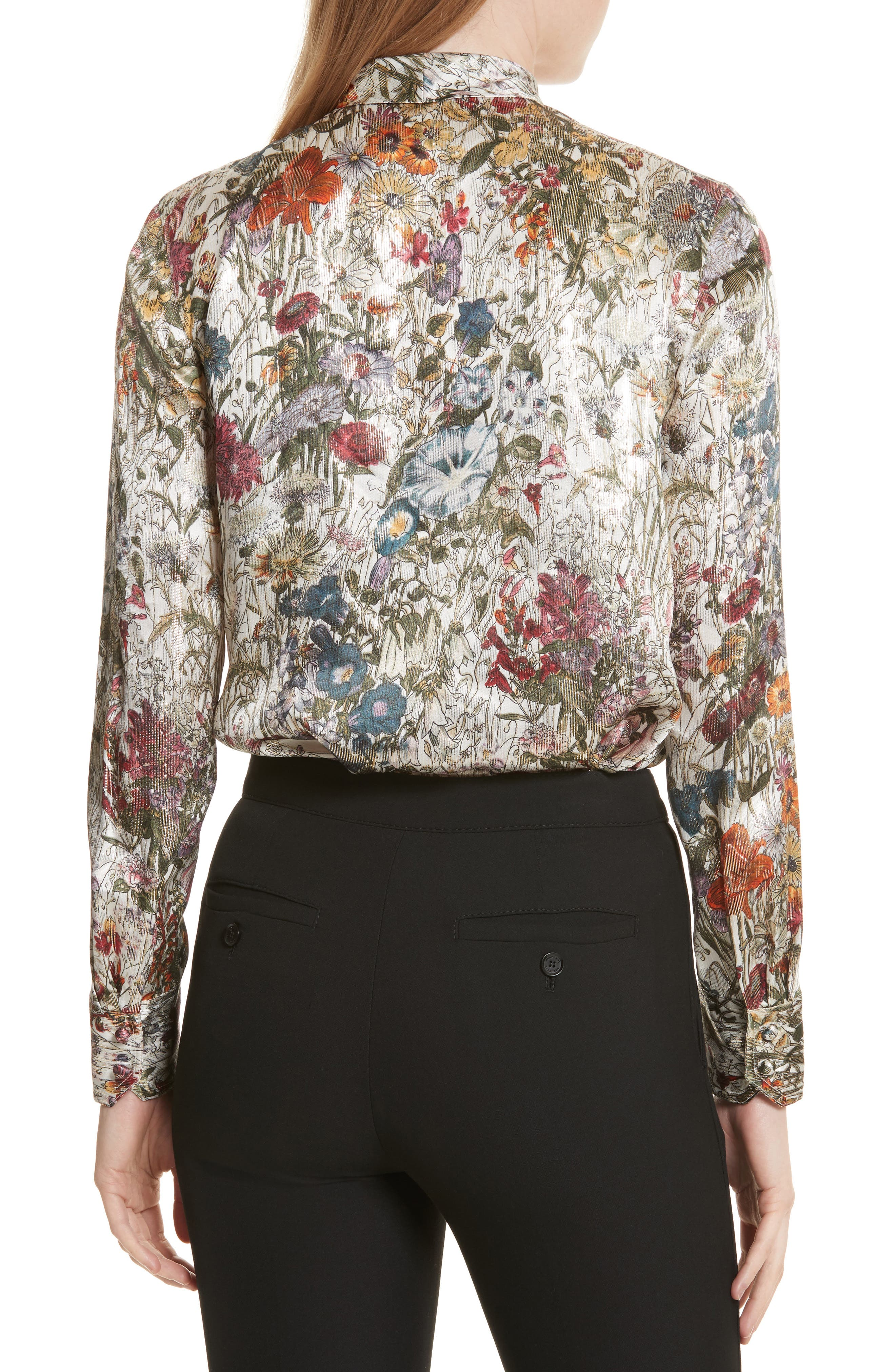 Alternate Image 2  - Tory Burch Tie Neck Metallic Floral Blouse