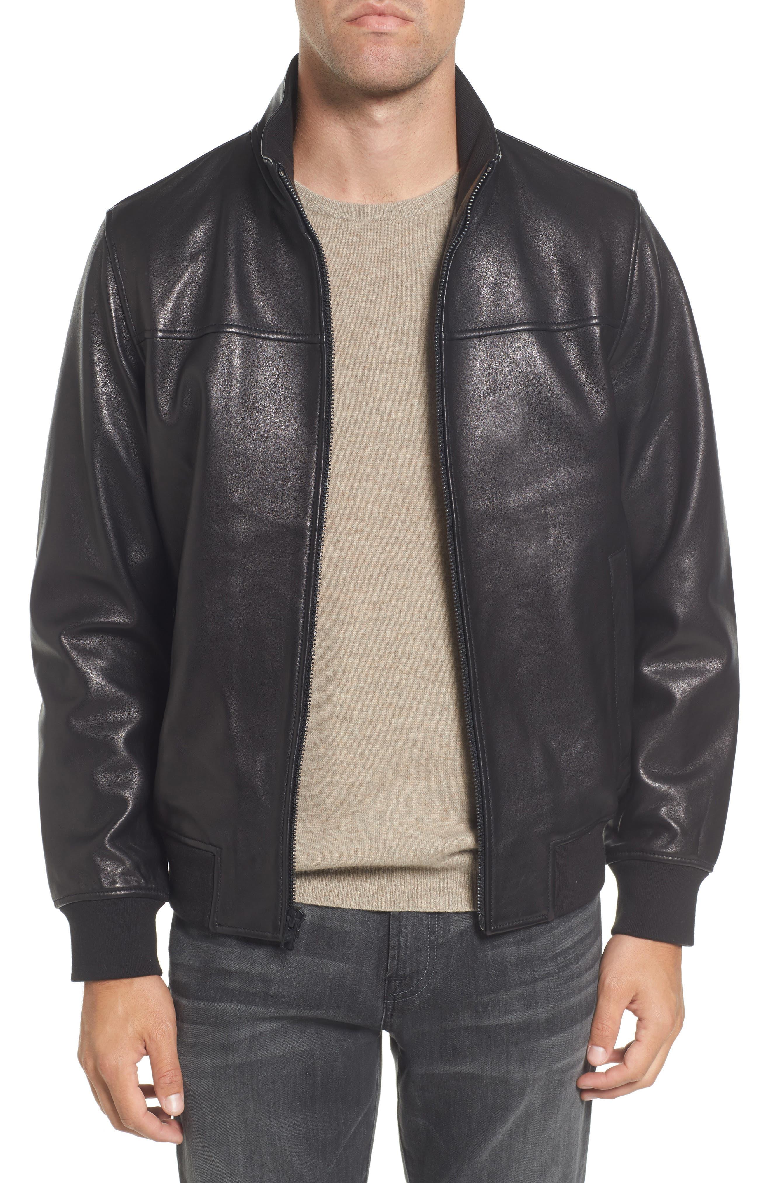 Vince Camuto Lambskin Leather Bomber Jacket