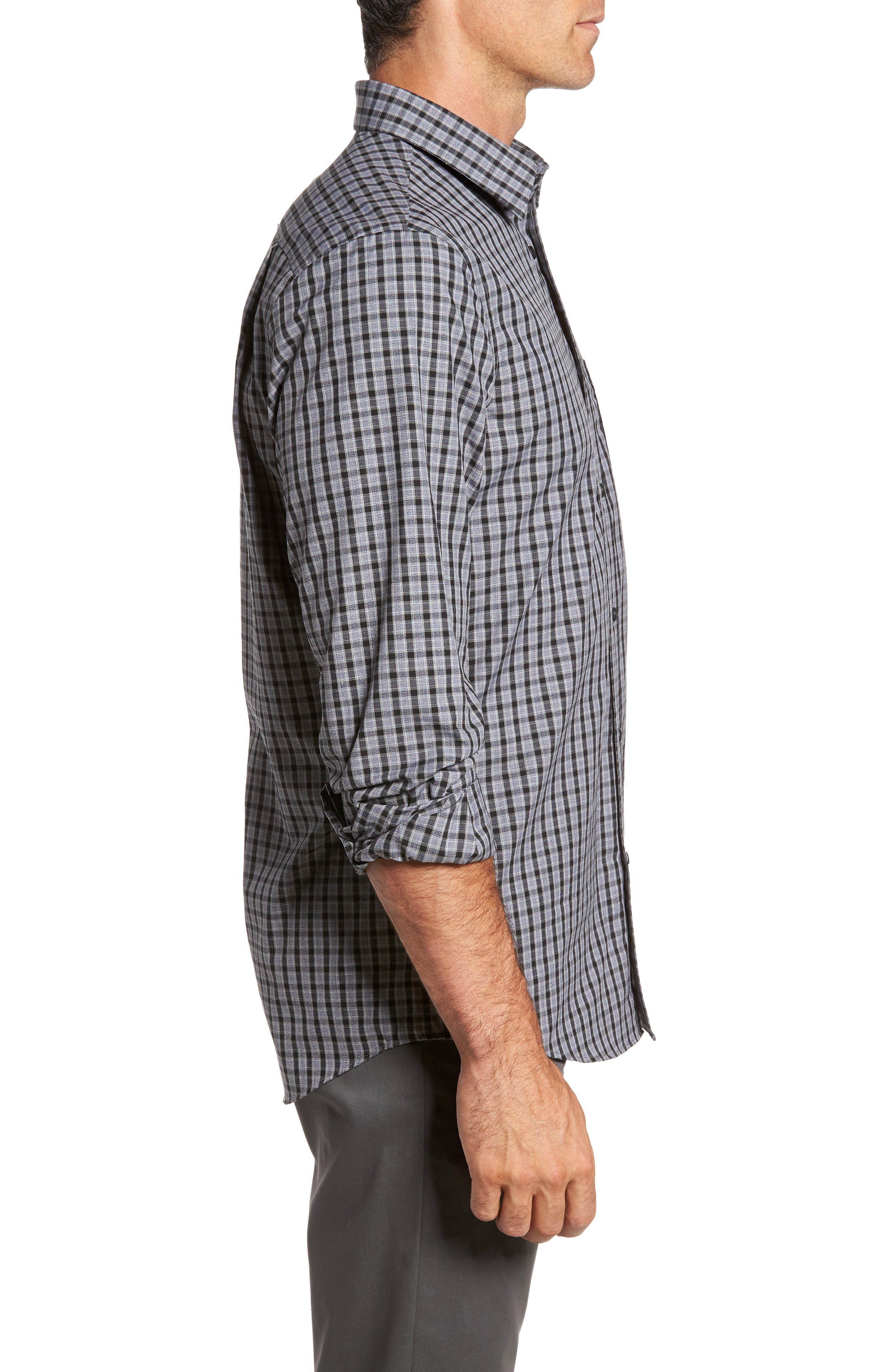 Regular Fit Non-Iron Check Sport Shirt,                             Alternate thumbnail 3, color,                             Grey Shade Black Heather Check