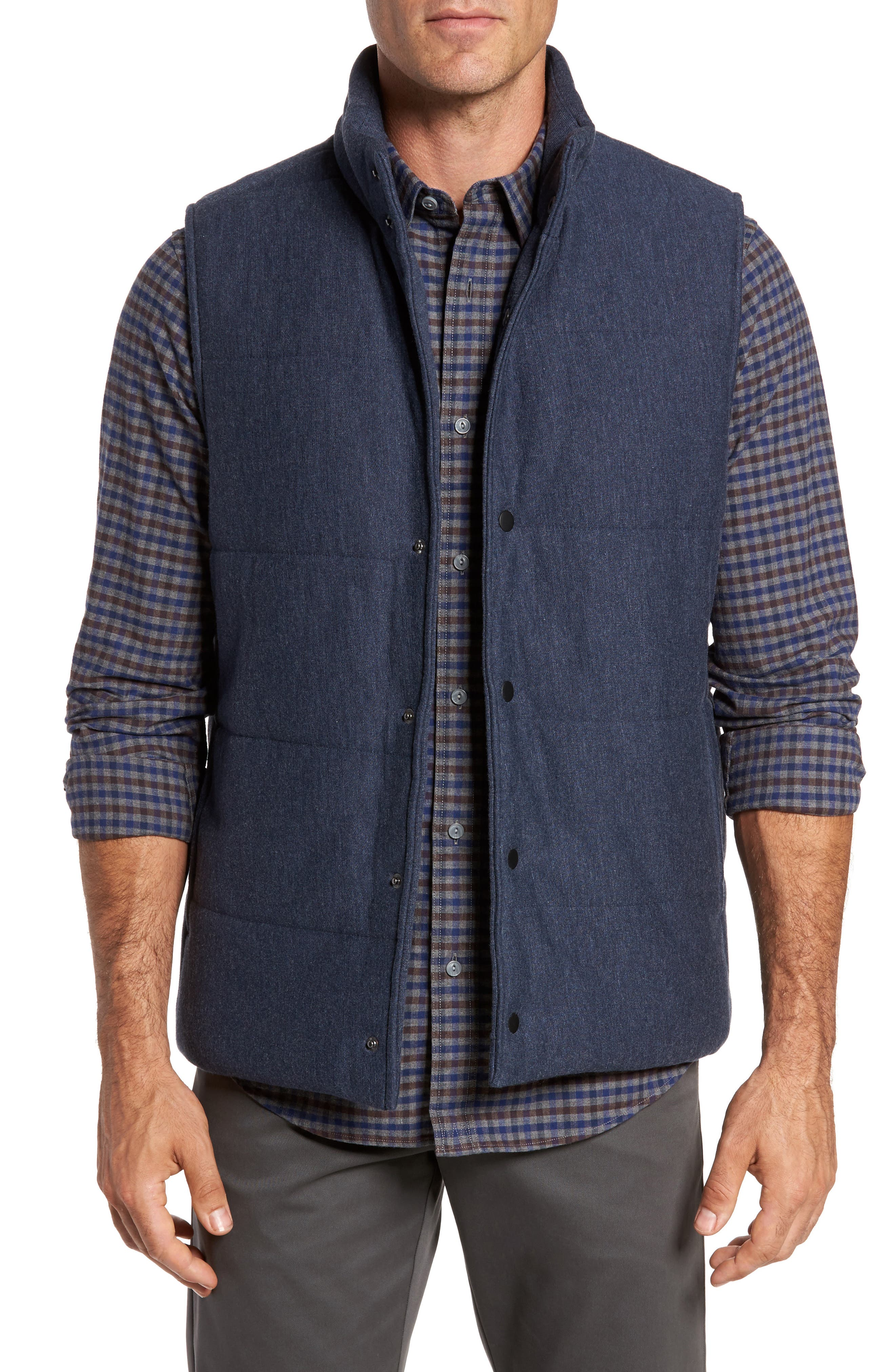 Quilted Fleece Vest,                         Main,                         color, Navy Iris Heather