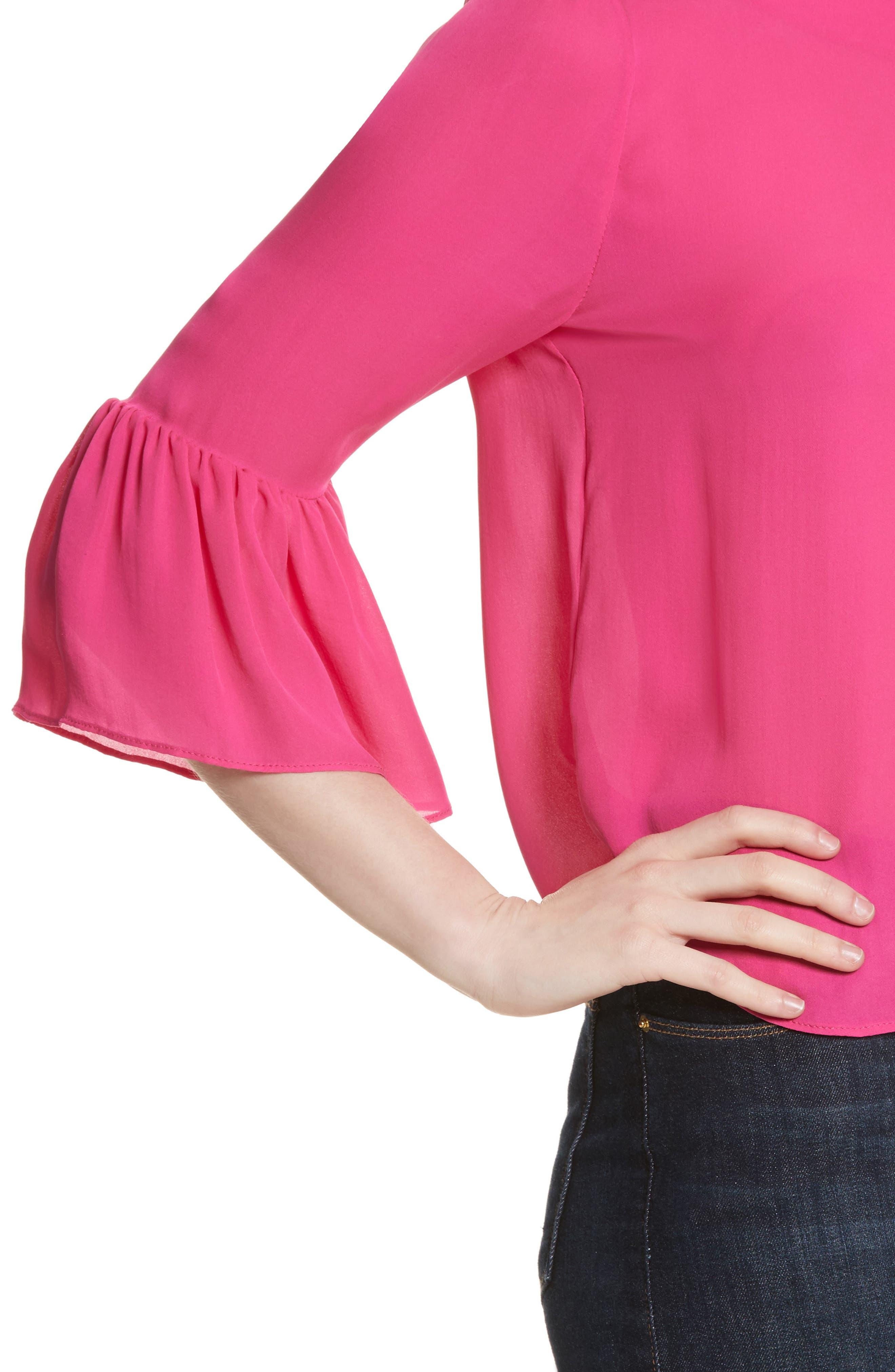 Bernice Ruffle Sleeve Silk Top,                             Alternate thumbnail 4, color,                             Fuchsia