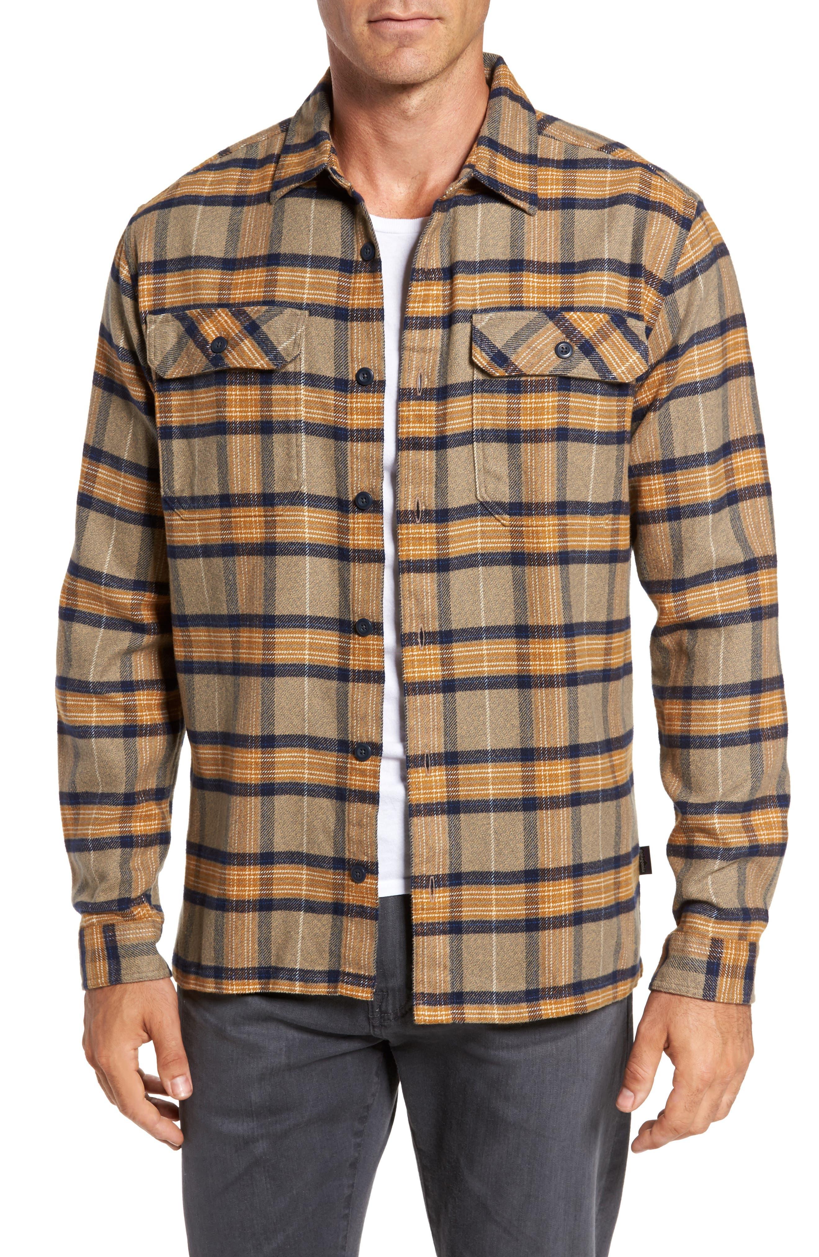 'Fjord' Regular Fit Organic Cotton Flannel Shirt,                             Main thumbnail 1, color,                             Migration Plaid Mojave Khaki