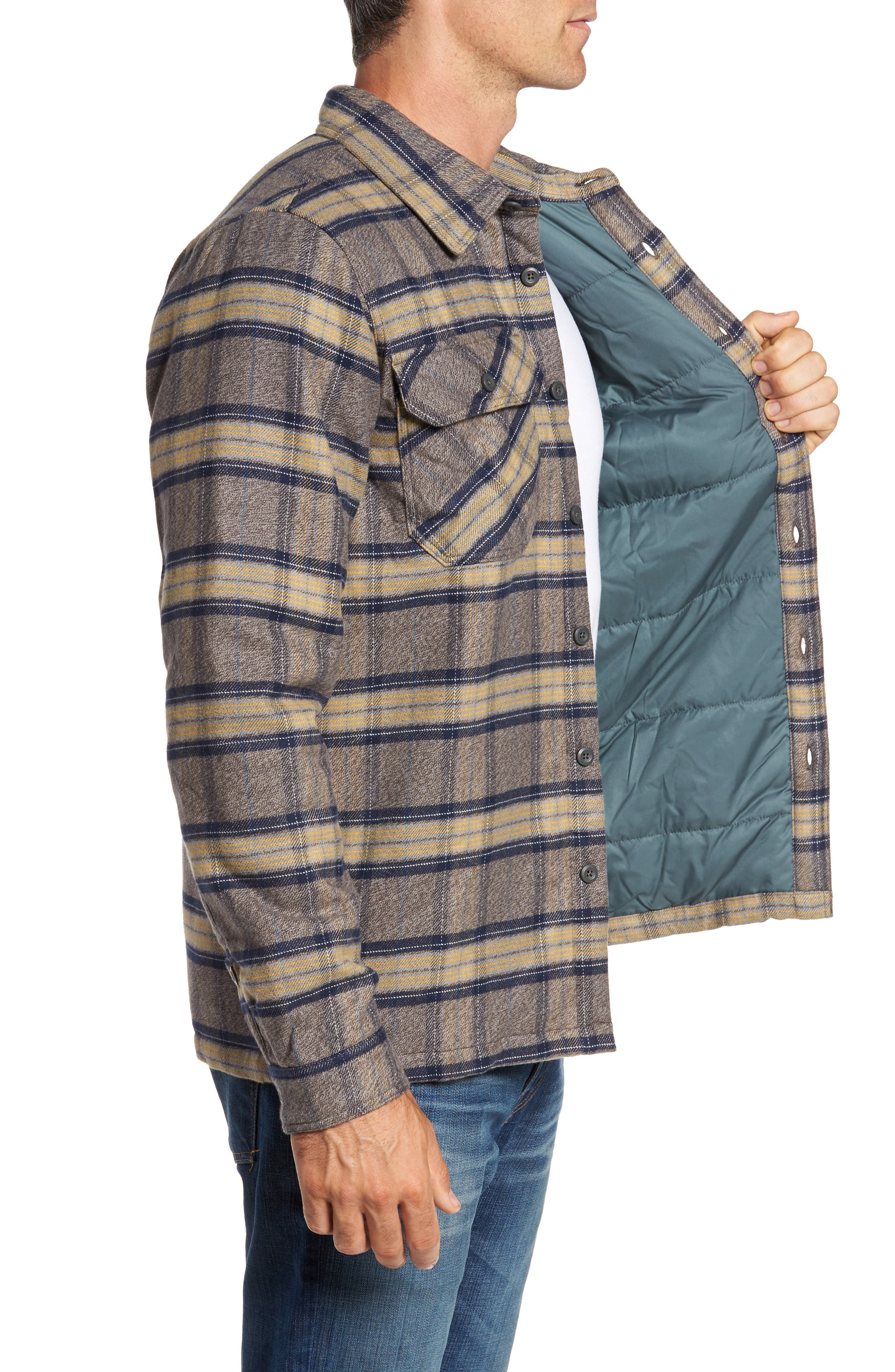 'Fjord' Flannel Shirt Jacket,                             Alternate thumbnail 3, color,                             Migration Plaid Forge Grey