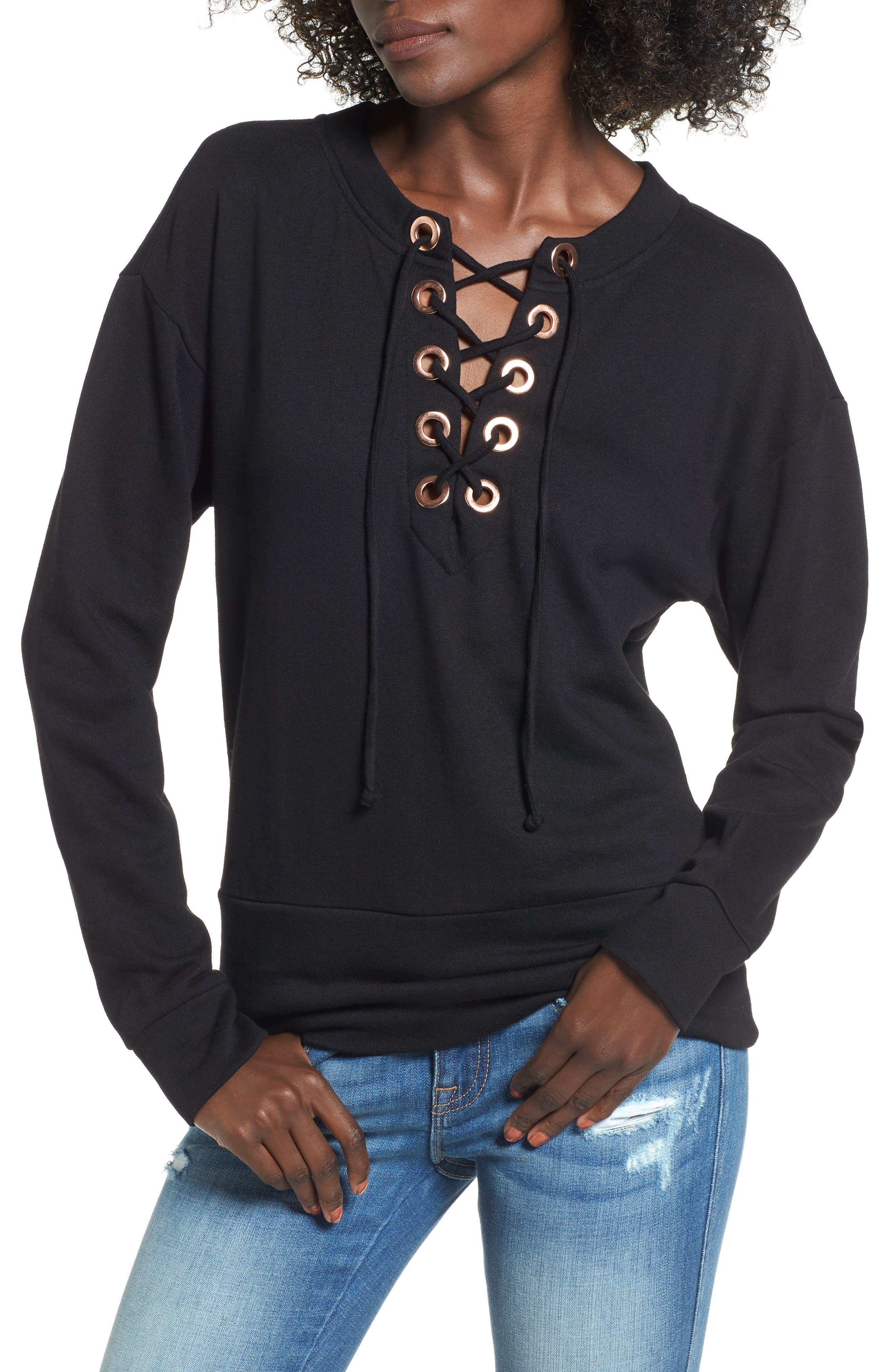 Alternate Image 1 Selected - Socialite Lace-Up Sweatshirt