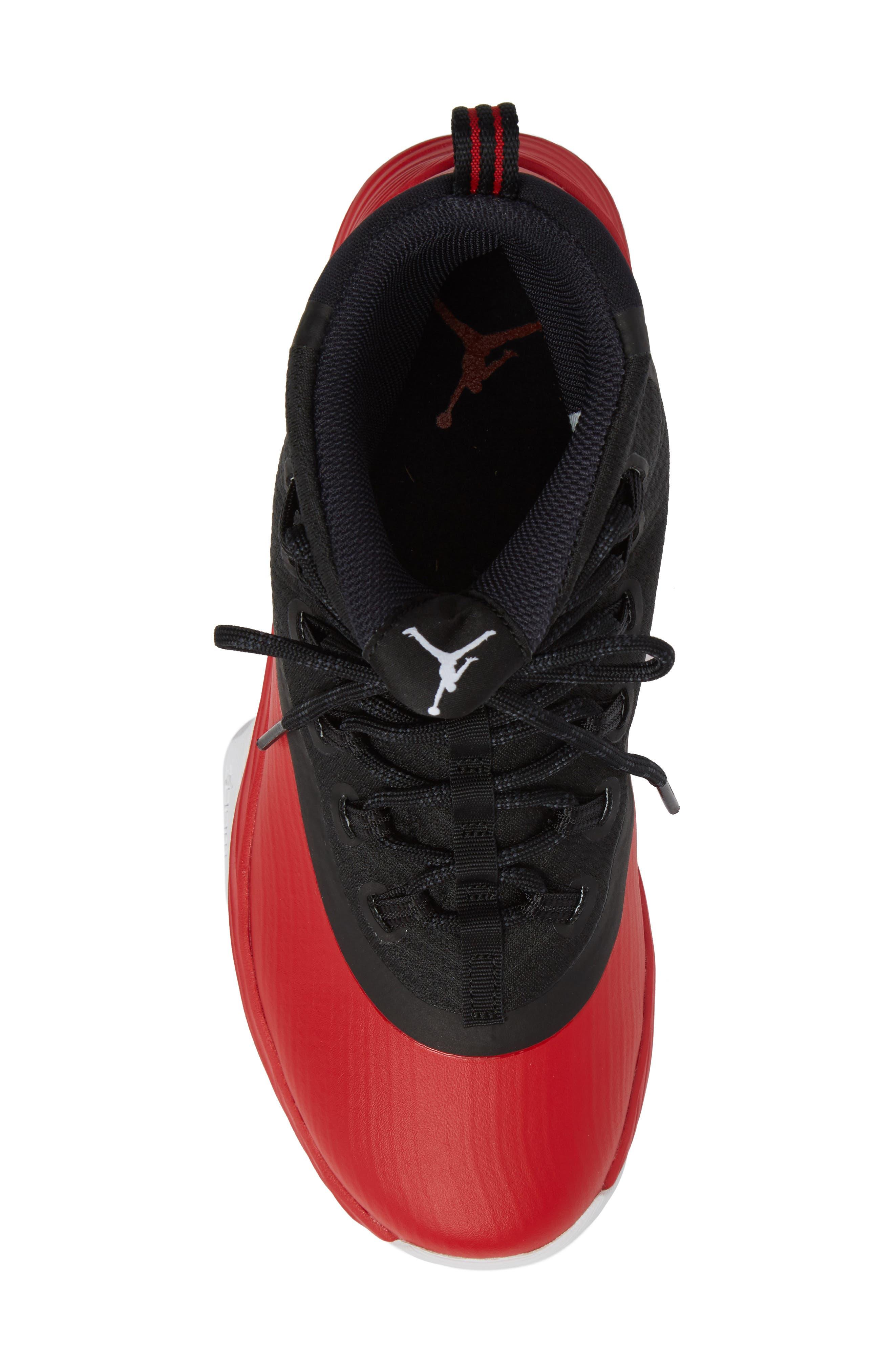 Jordan Ultra Fly 2 Basketball Shoe,                             Alternate thumbnail 5, color,                             University Red/ White/ Black