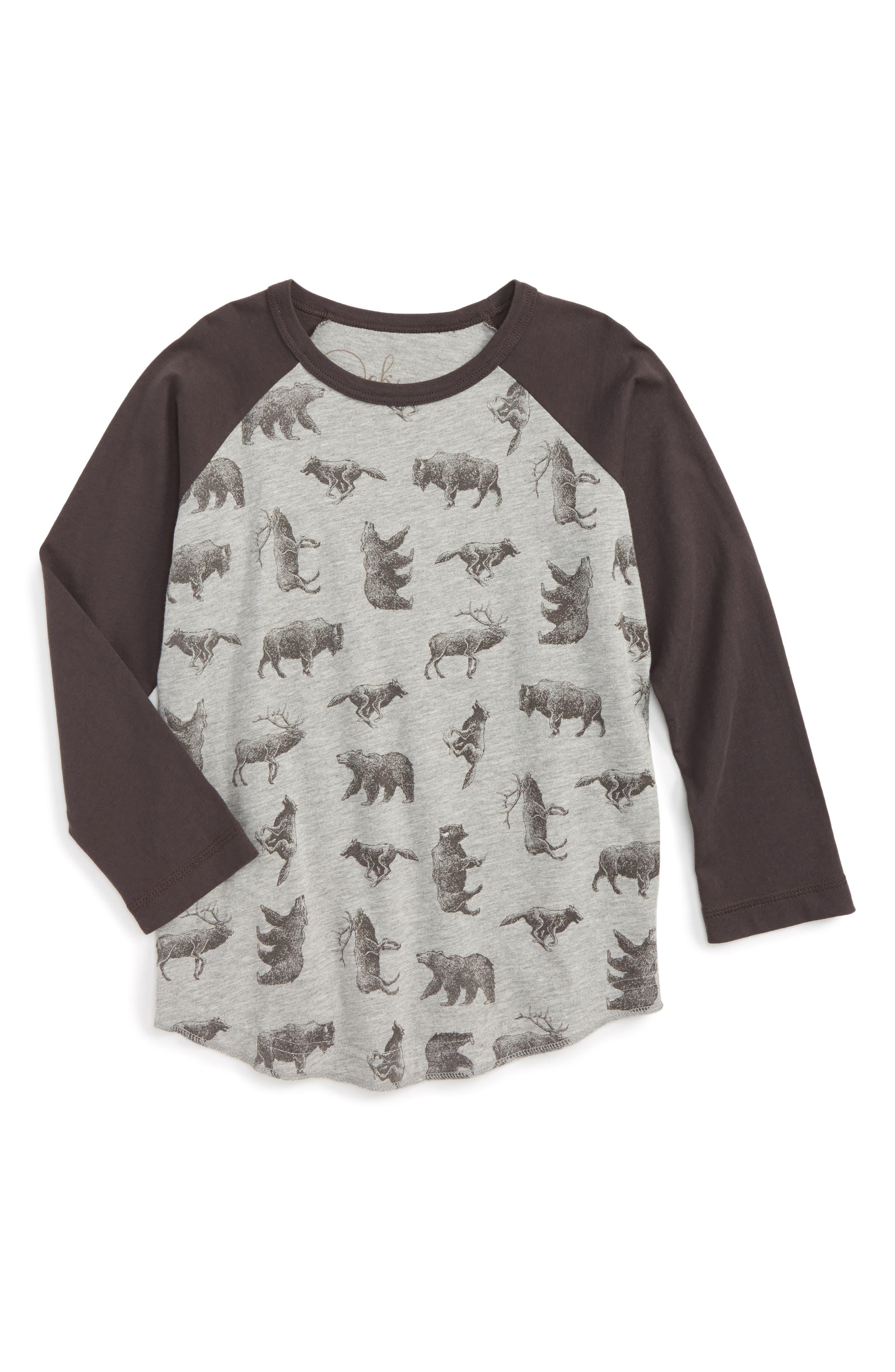 Main Image - Peek Animal Print Raglan T-Shirt (Toddler Boys, Little Boys & Big Boys)