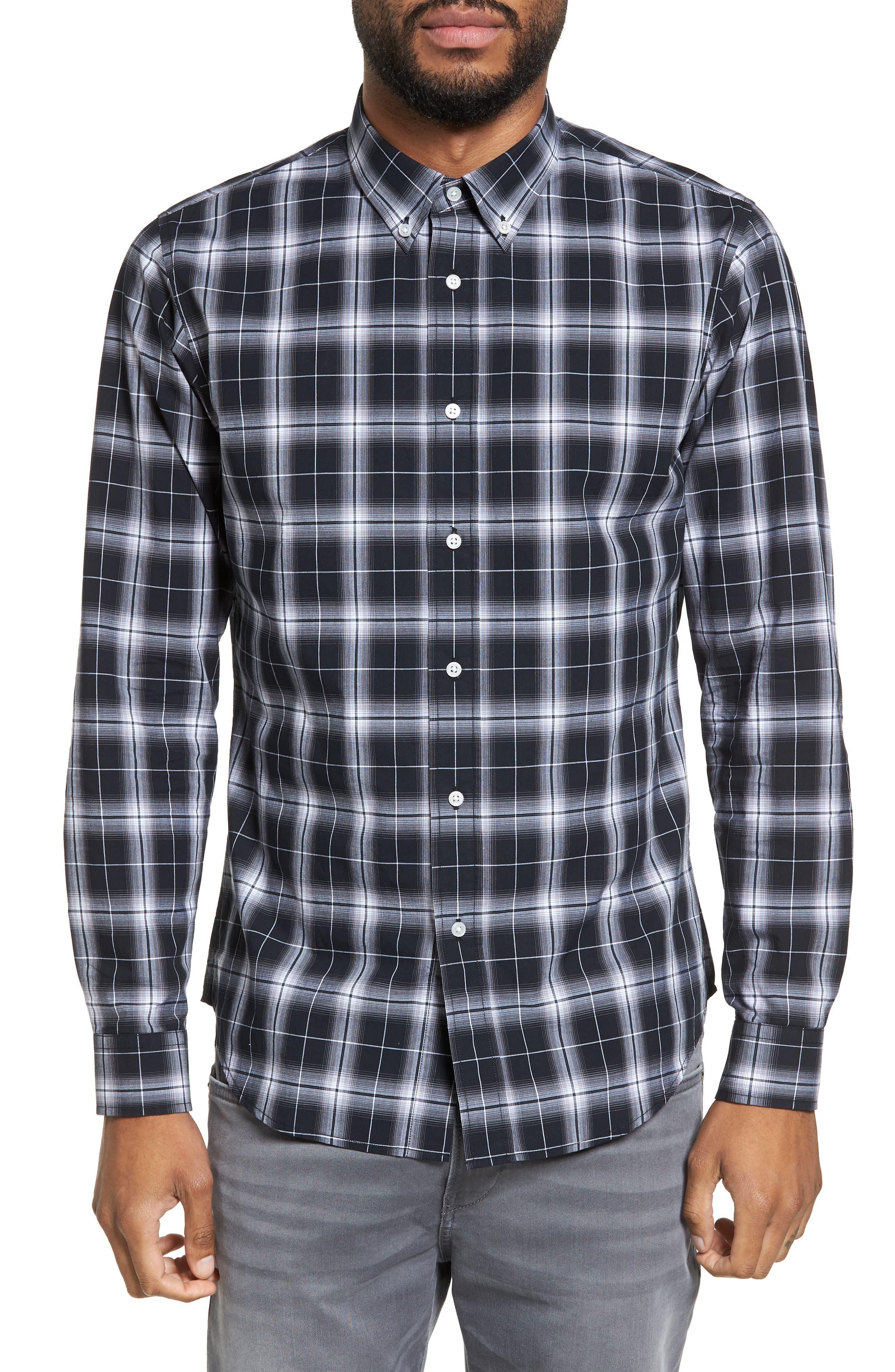 Trim Fit Ombré Plaid Sport Shirt,                         Main,                         color, Black/ White Plaid