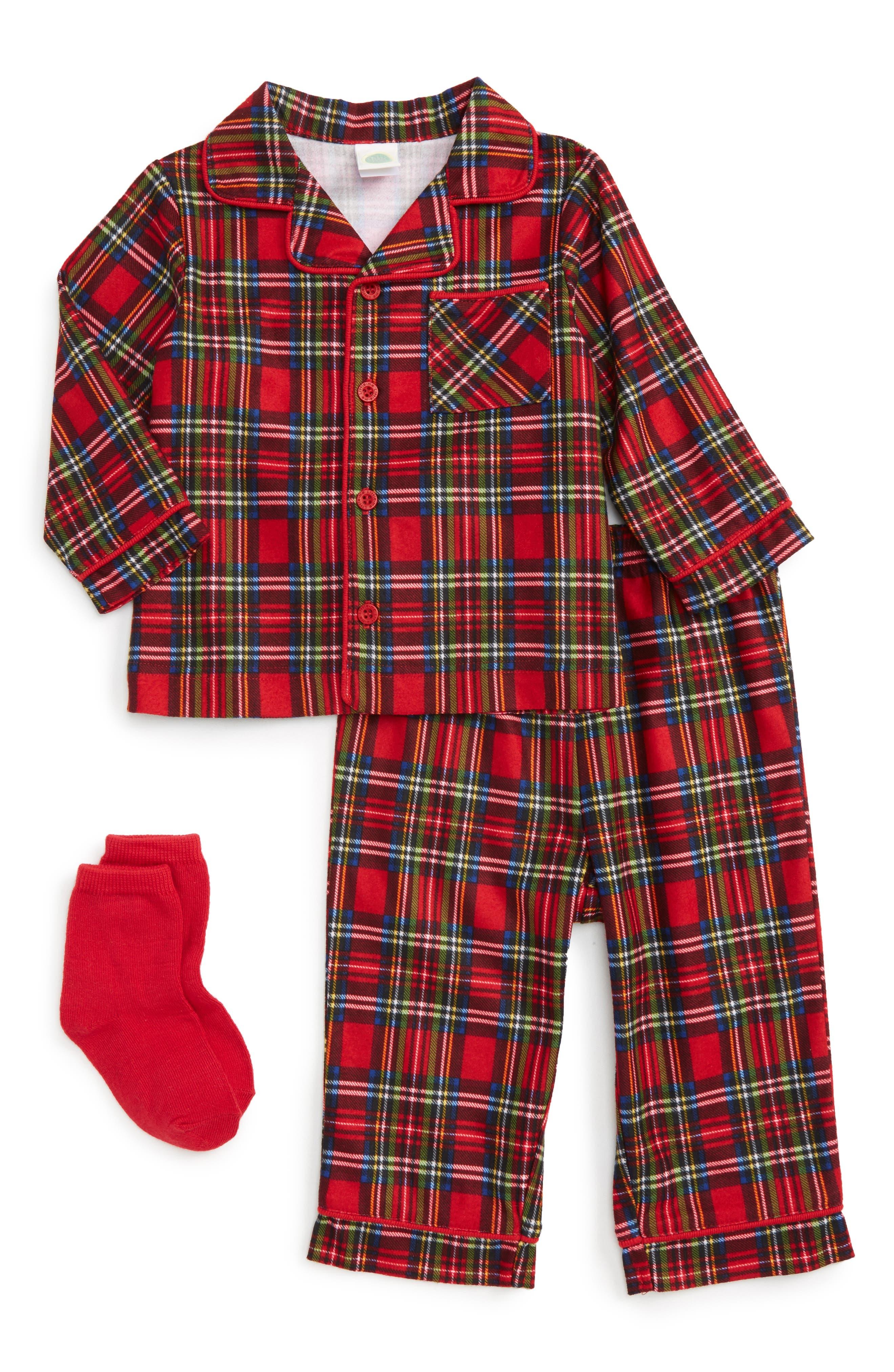 Little Me Plaid Two-Piece Pajamas & Socks Set (Baby Girls)