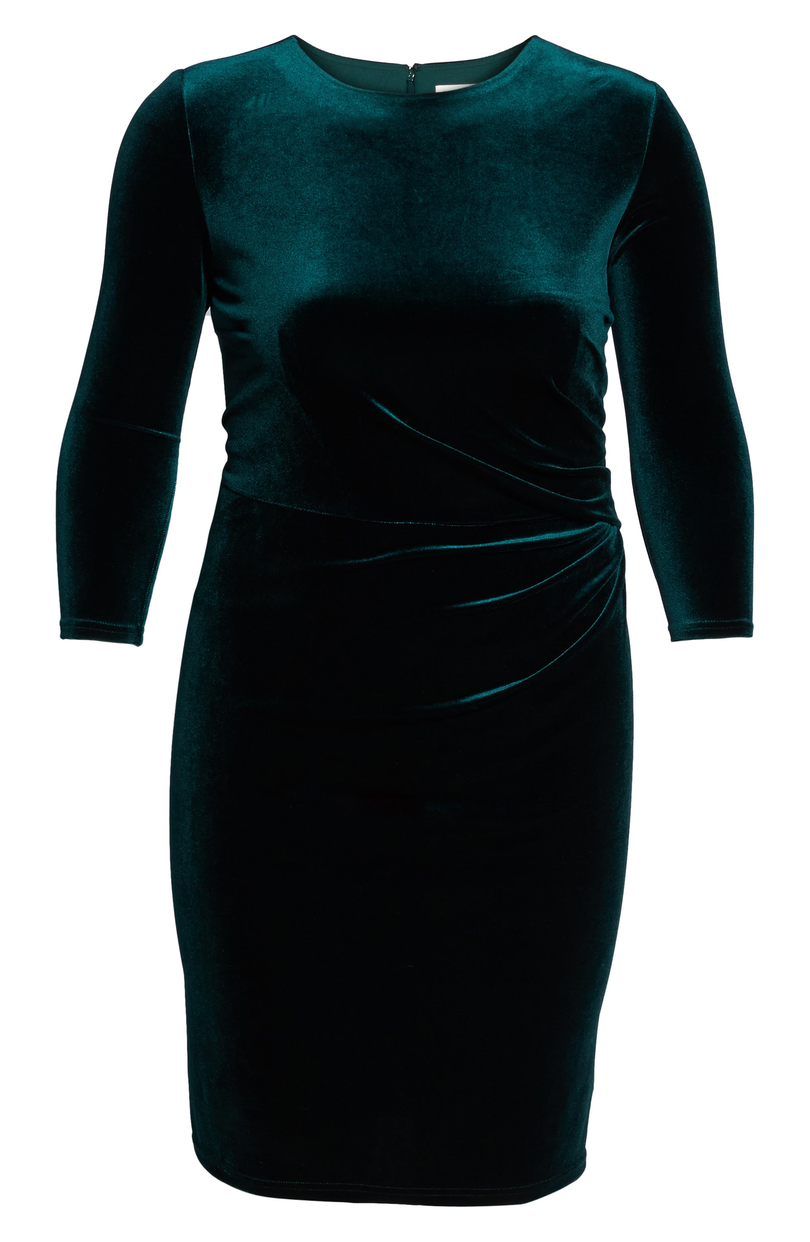 Stretch Velvet Sheath Dress,                             Alternate thumbnail 6, color,                             Hunter