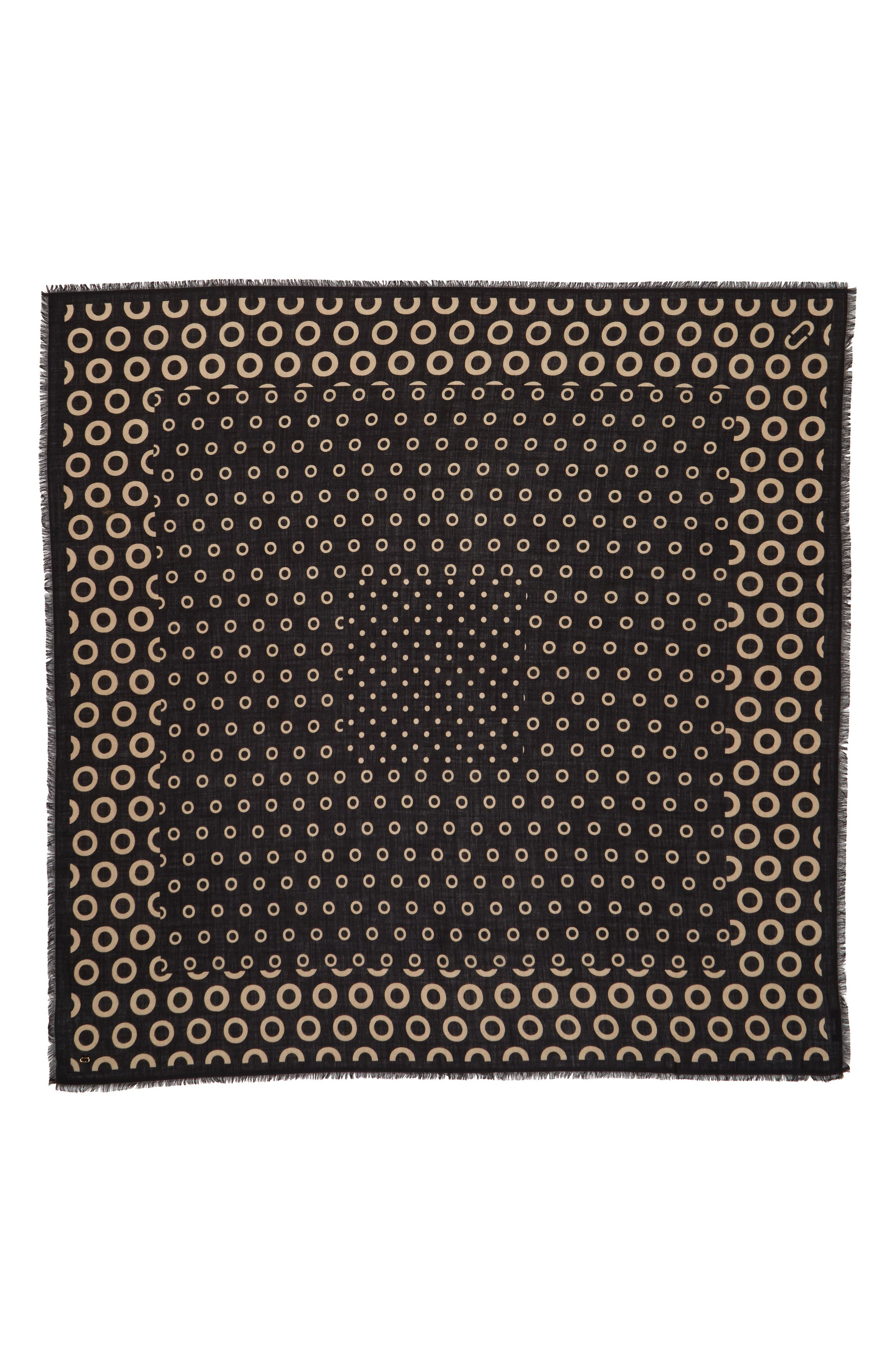 Dots & Rings Wool Scarf,                             Main thumbnail 1, color,                             Black Multi