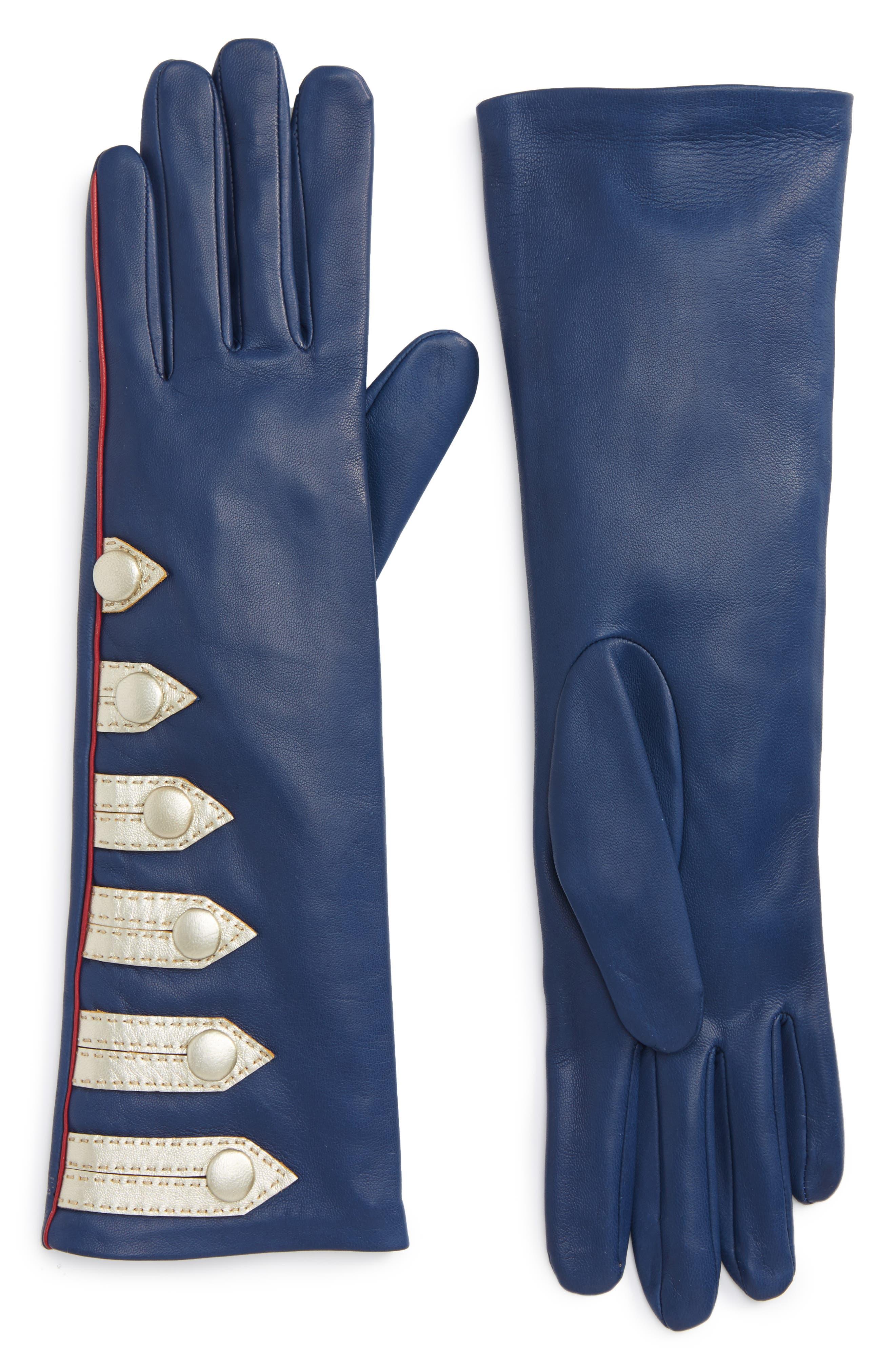 Agnelle Metallic Stripe Lambskin Leather Gloves