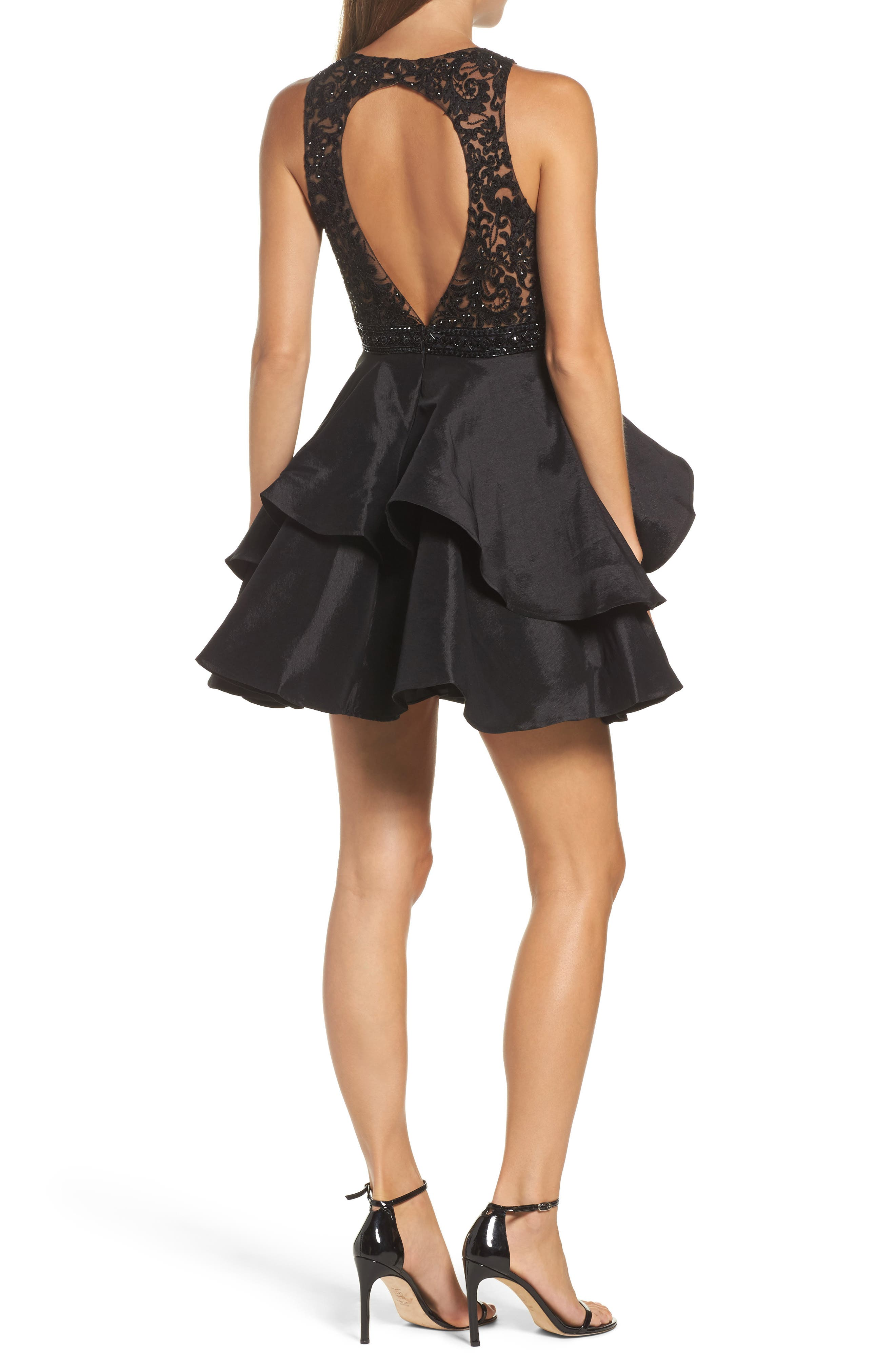 Alternate Image 2  - Sean Collection Lace Bodice Tiered Mikado Fit & Flare Dress