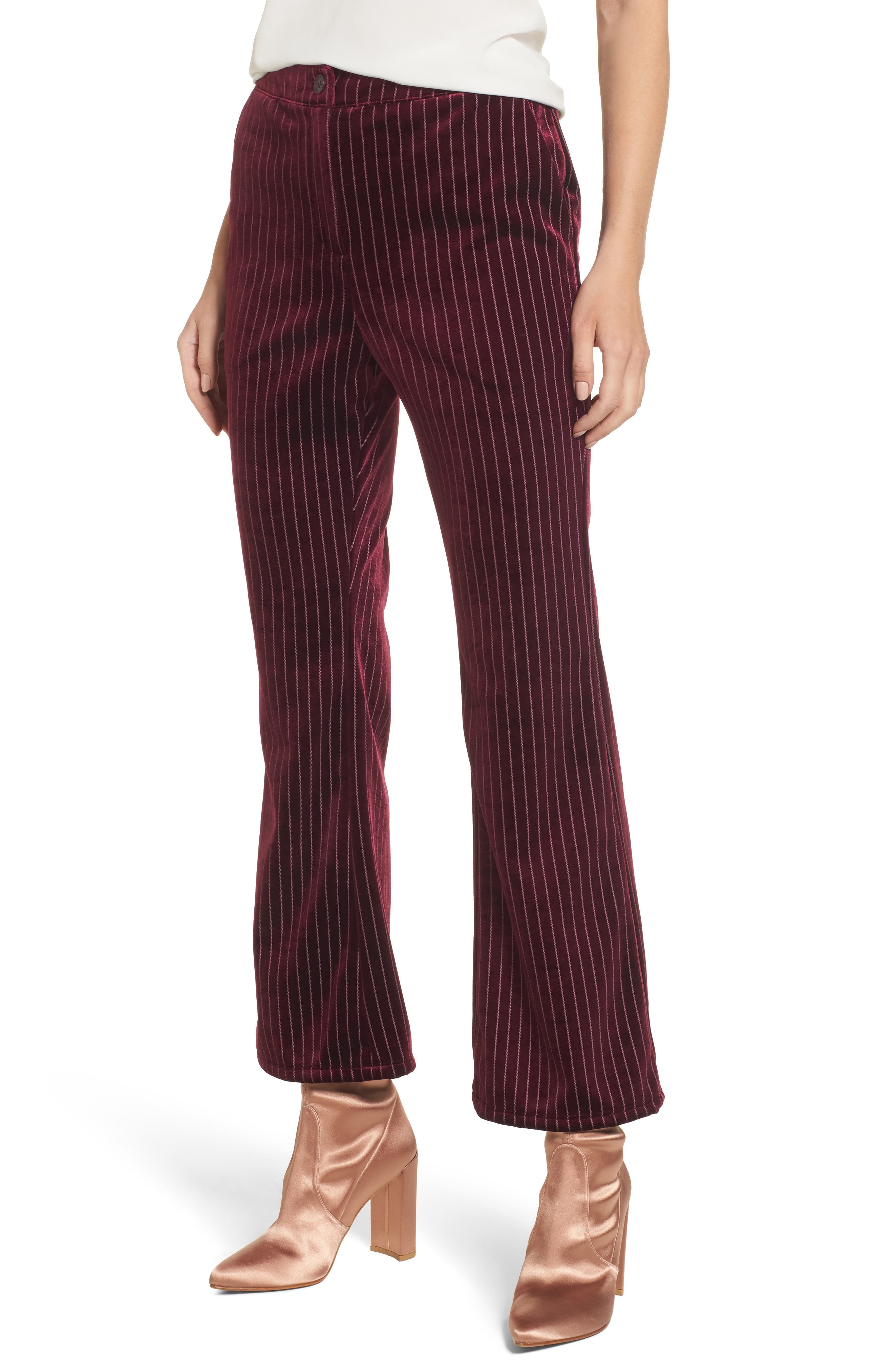 Velour Ankle Trousers,                             Main thumbnail 1, color,                             Red Tannin Dotted Stripe