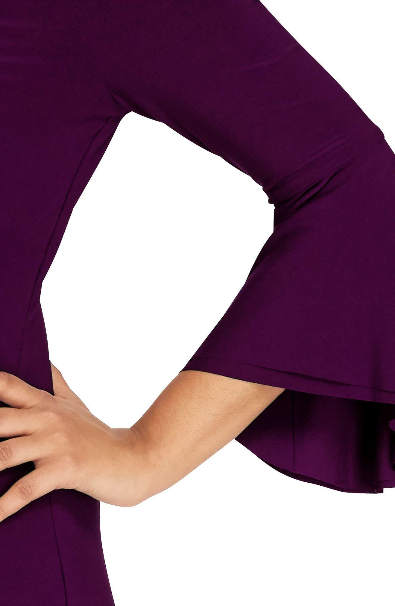 Bell Sleeve Sheath Dress,                             Alternate thumbnail 3, color,                             Raisin