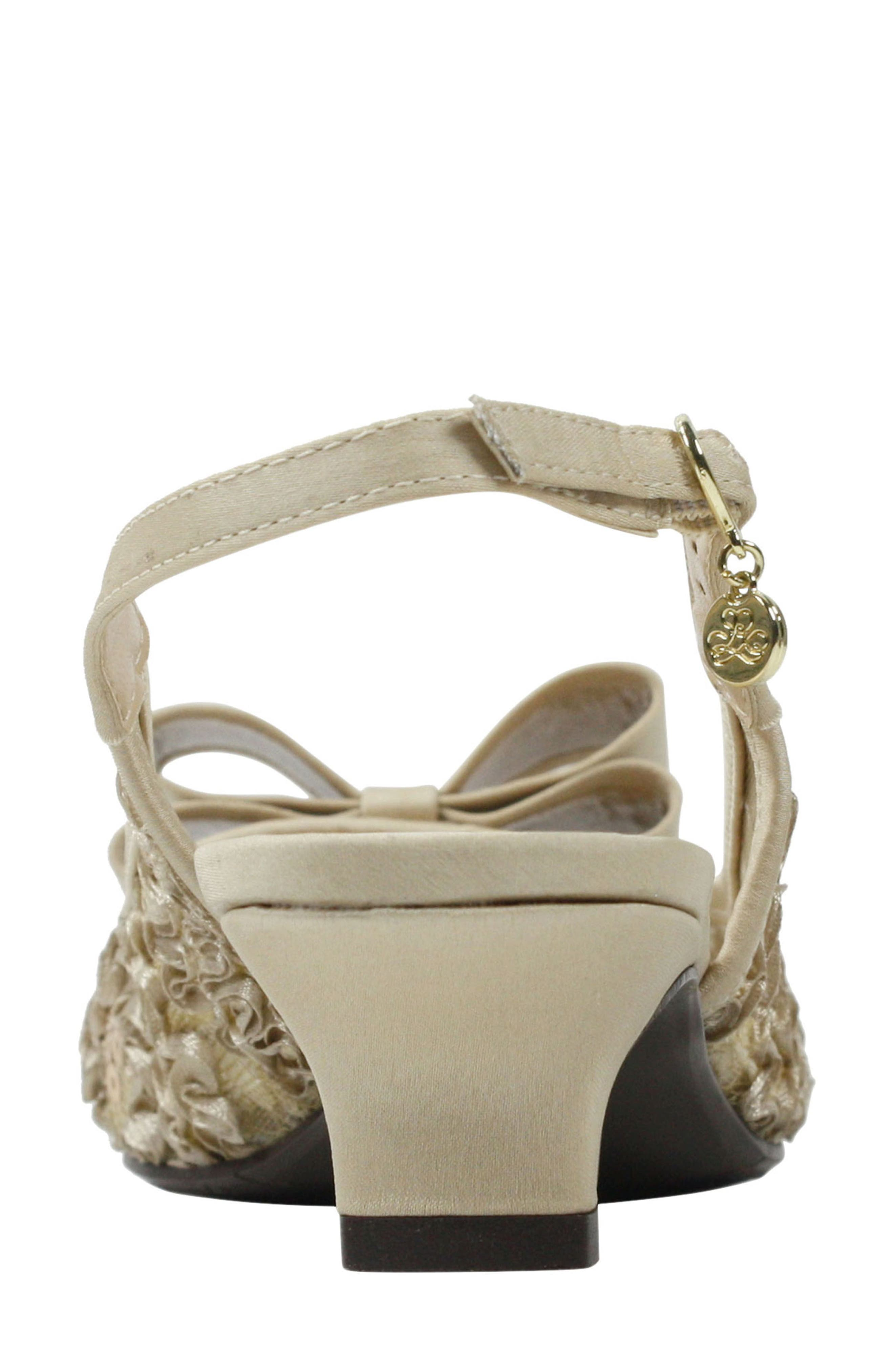 Landan Bow Slingback Sandal,                             Alternate thumbnail 6, color,                             Champagne