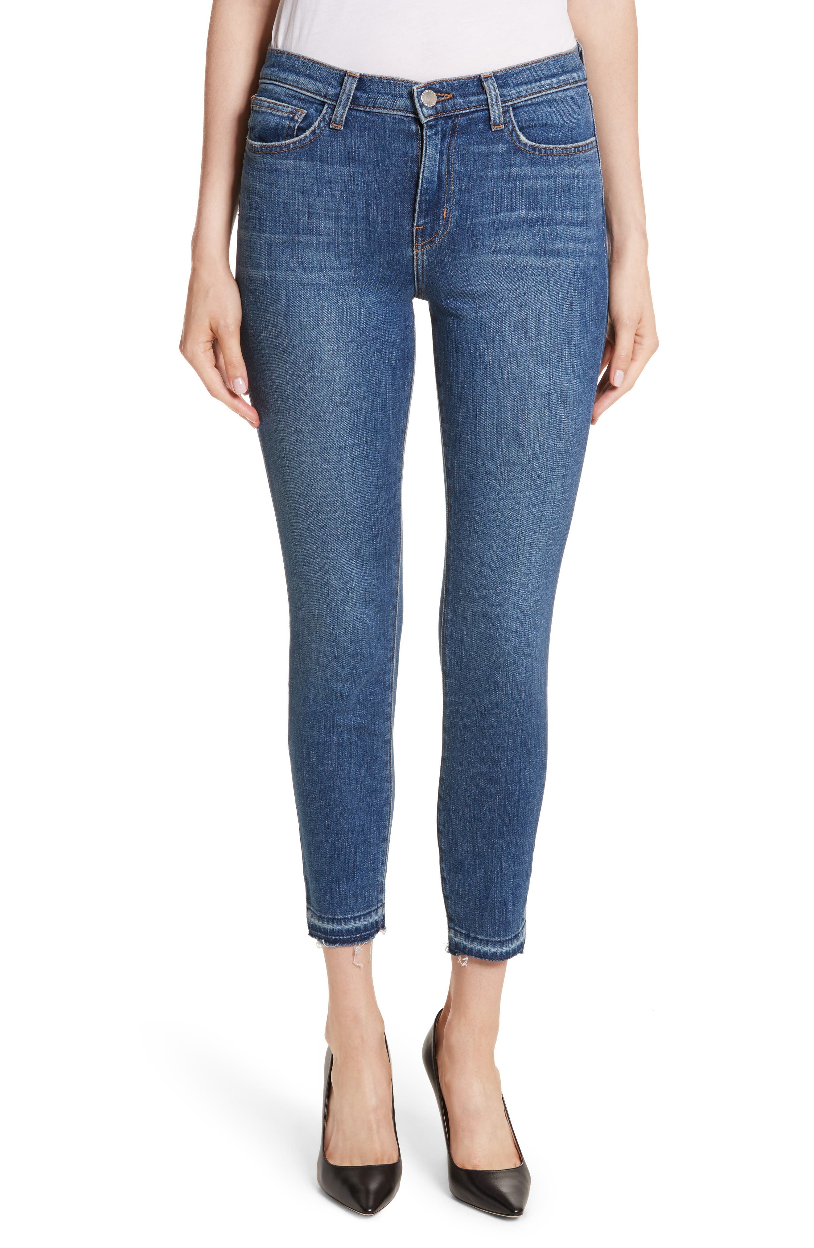 Laguna French High Waist Release Hem Jeans,                         Main,                         color, Indigo