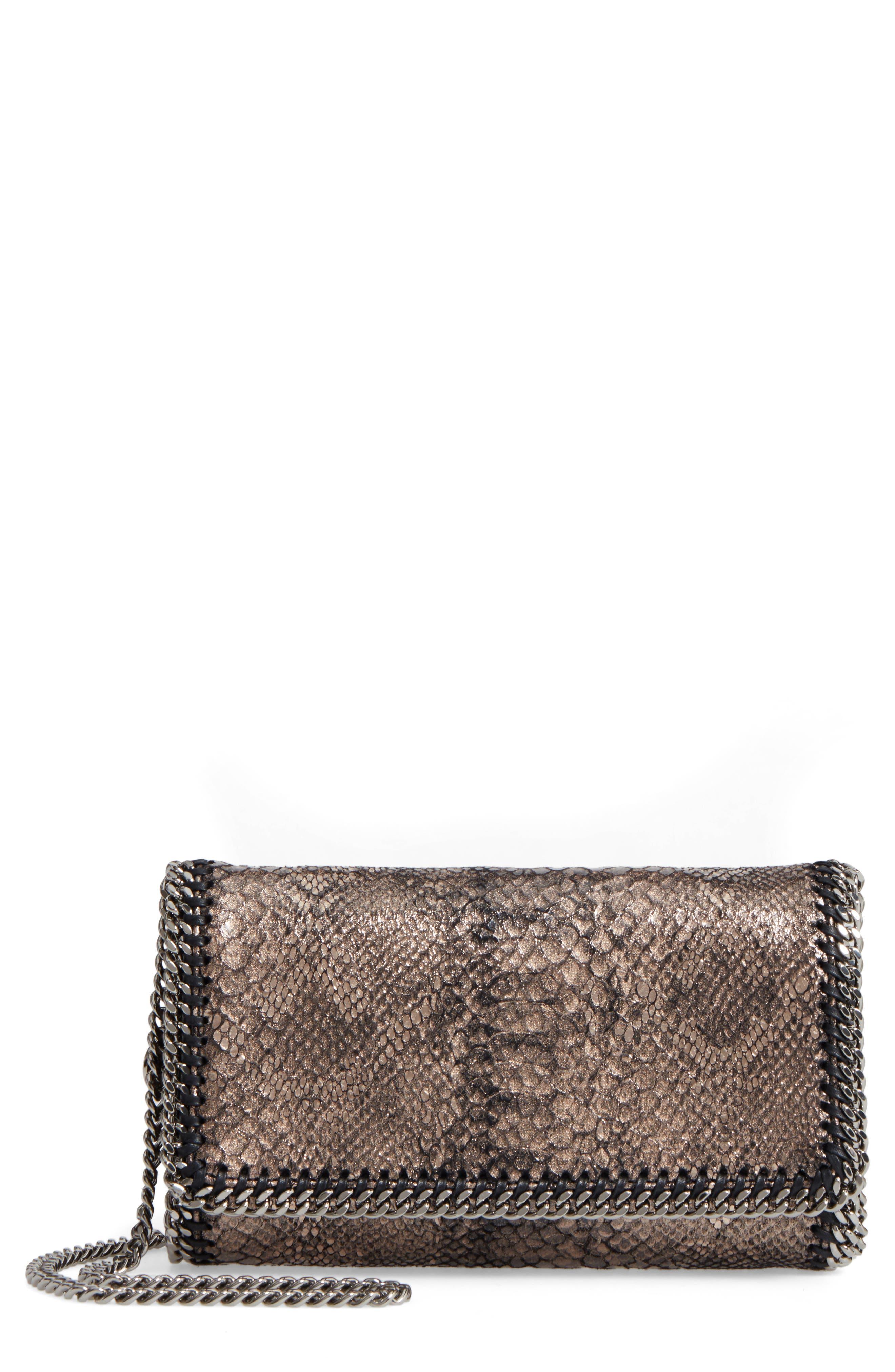 Stella McCartney Fallabella Metallic Python Print Faux Leather Crossbody Bag