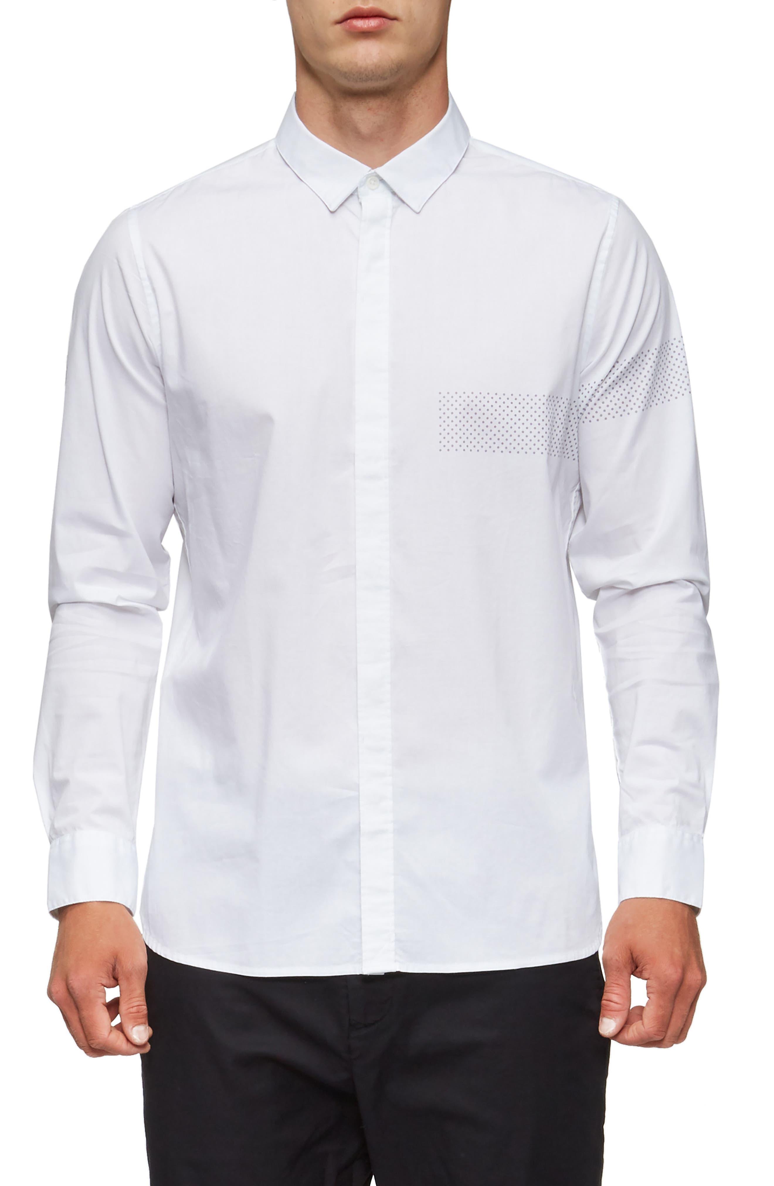 Bexley Long Sleeve Sport Shirt,                             Main thumbnail 1, color,                             White/ Grey