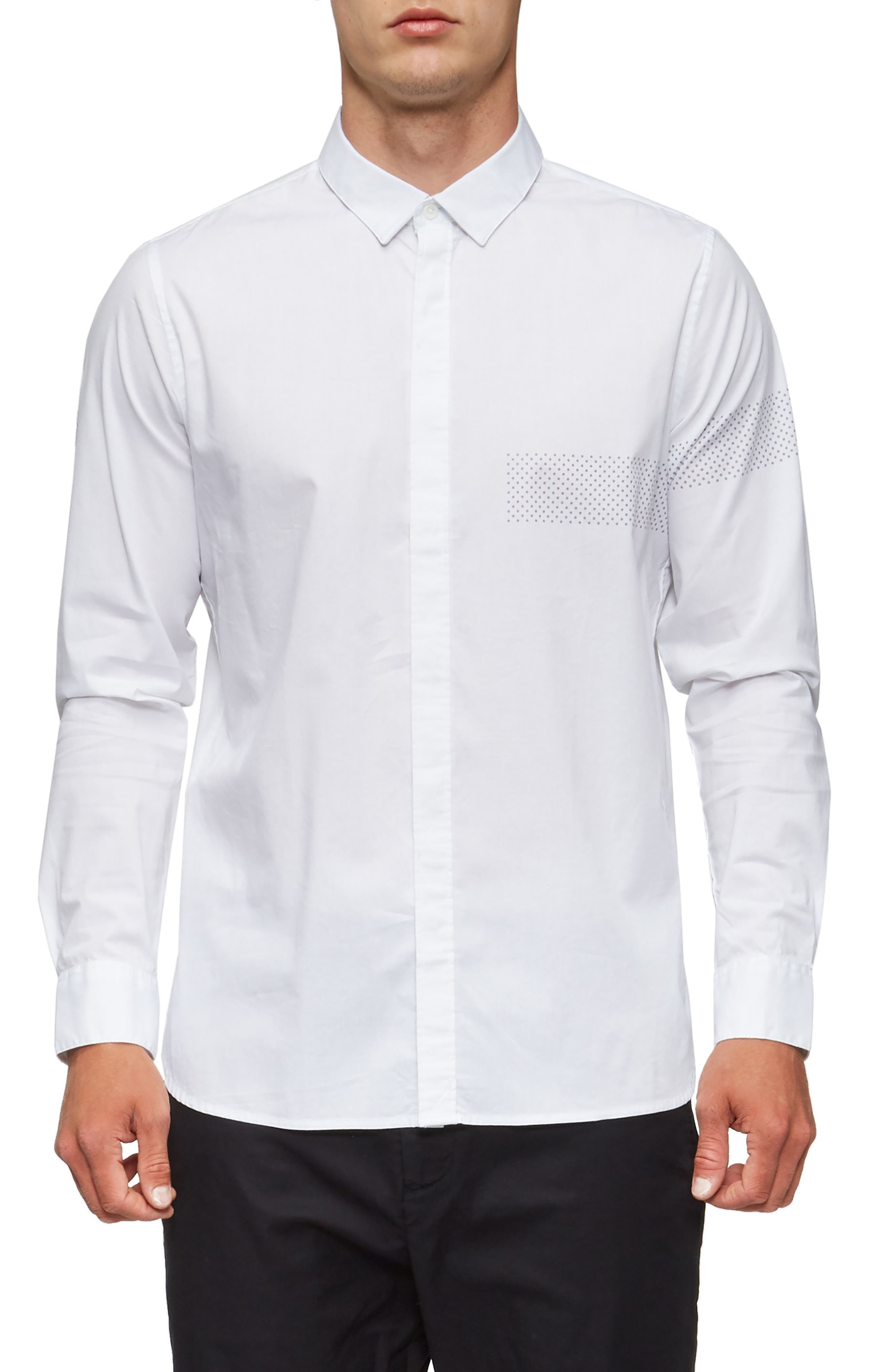 Bexley Long Sleeve Sport Shirt,                         Main,                         color, White/ Grey