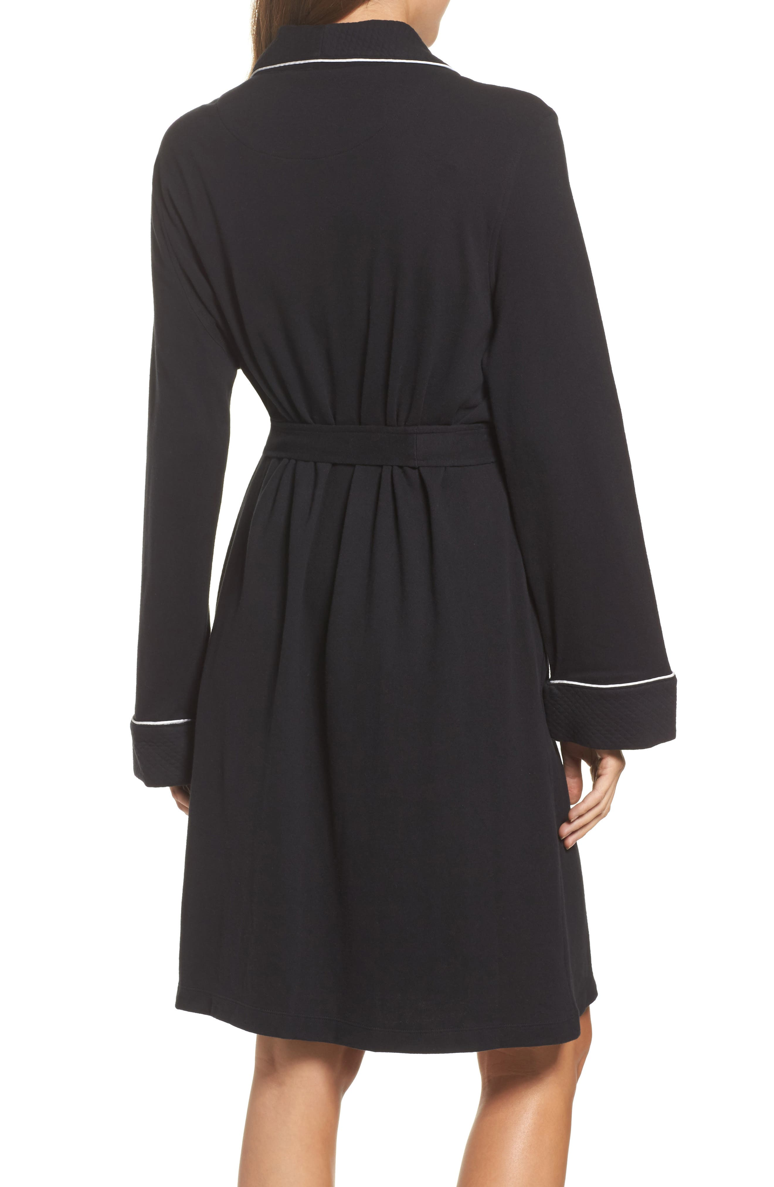 Quilted Collar Robe,                             Alternate thumbnail 2, color,                             Black