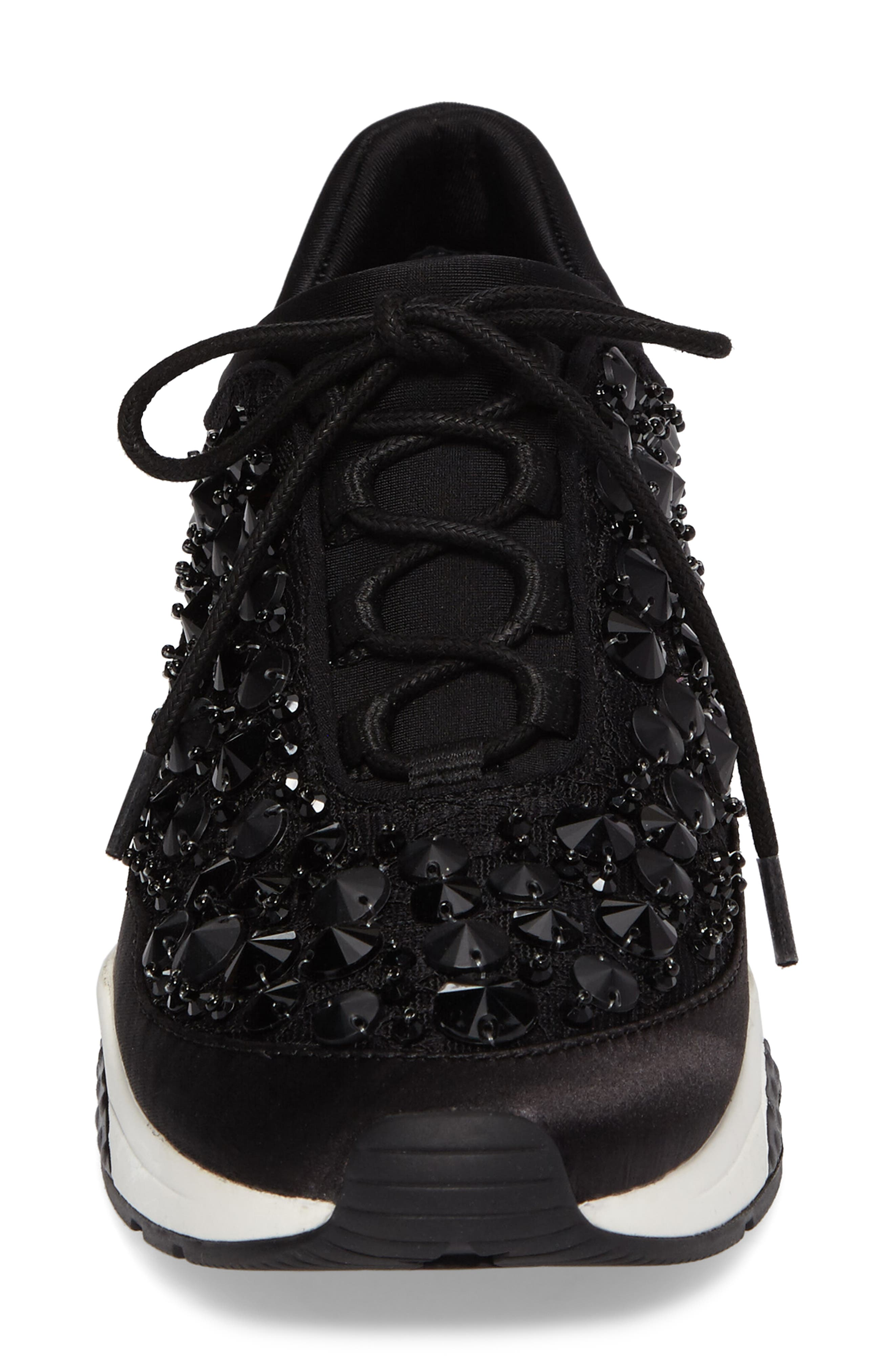 Muse Beads Sneaker,                             Alternate thumbnail 4, color,                             Black/ Black Fabric