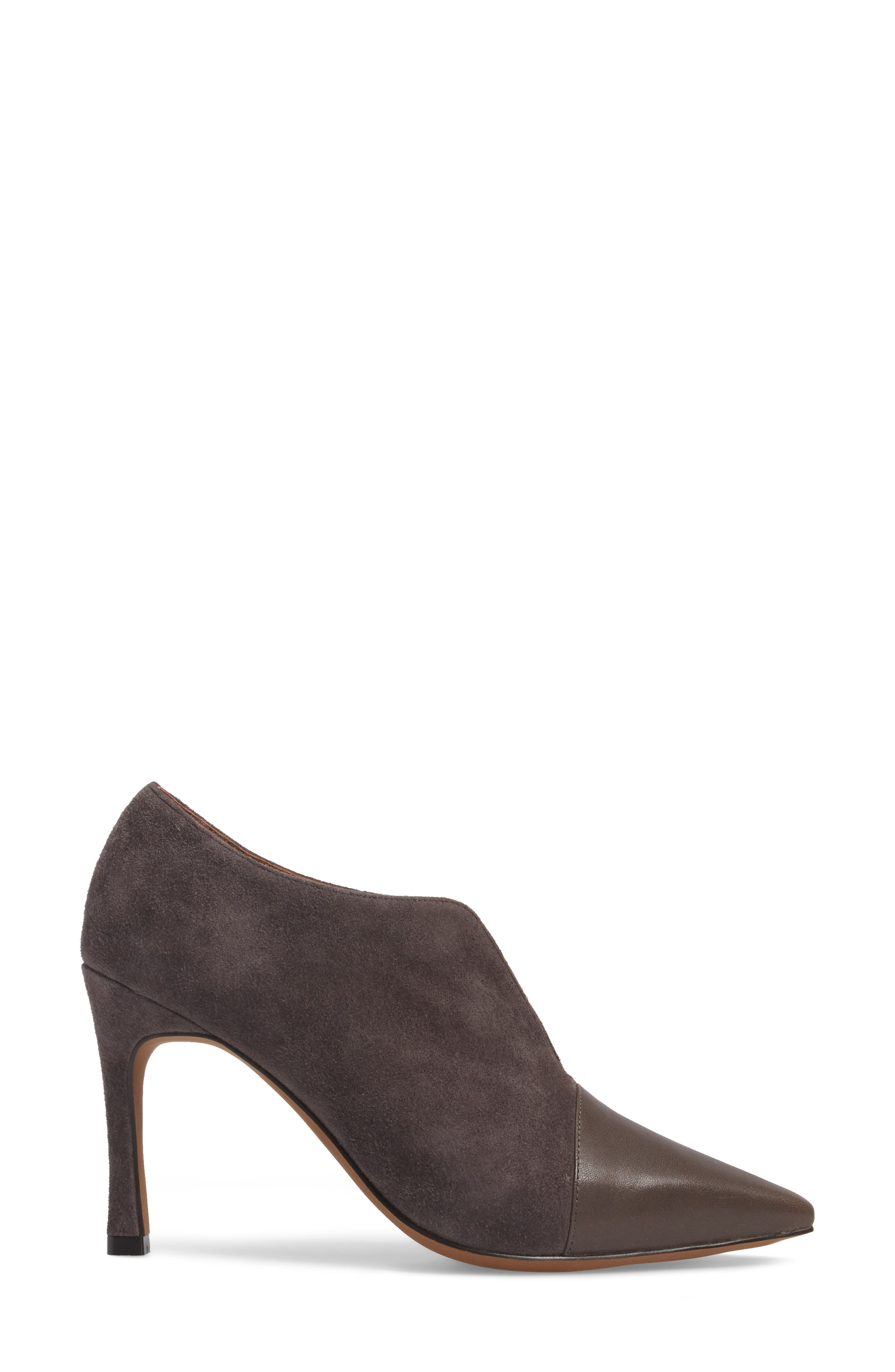 Pointy Toe Bootie,                             Alternate thumbnail 3, color,                             Ash Suede