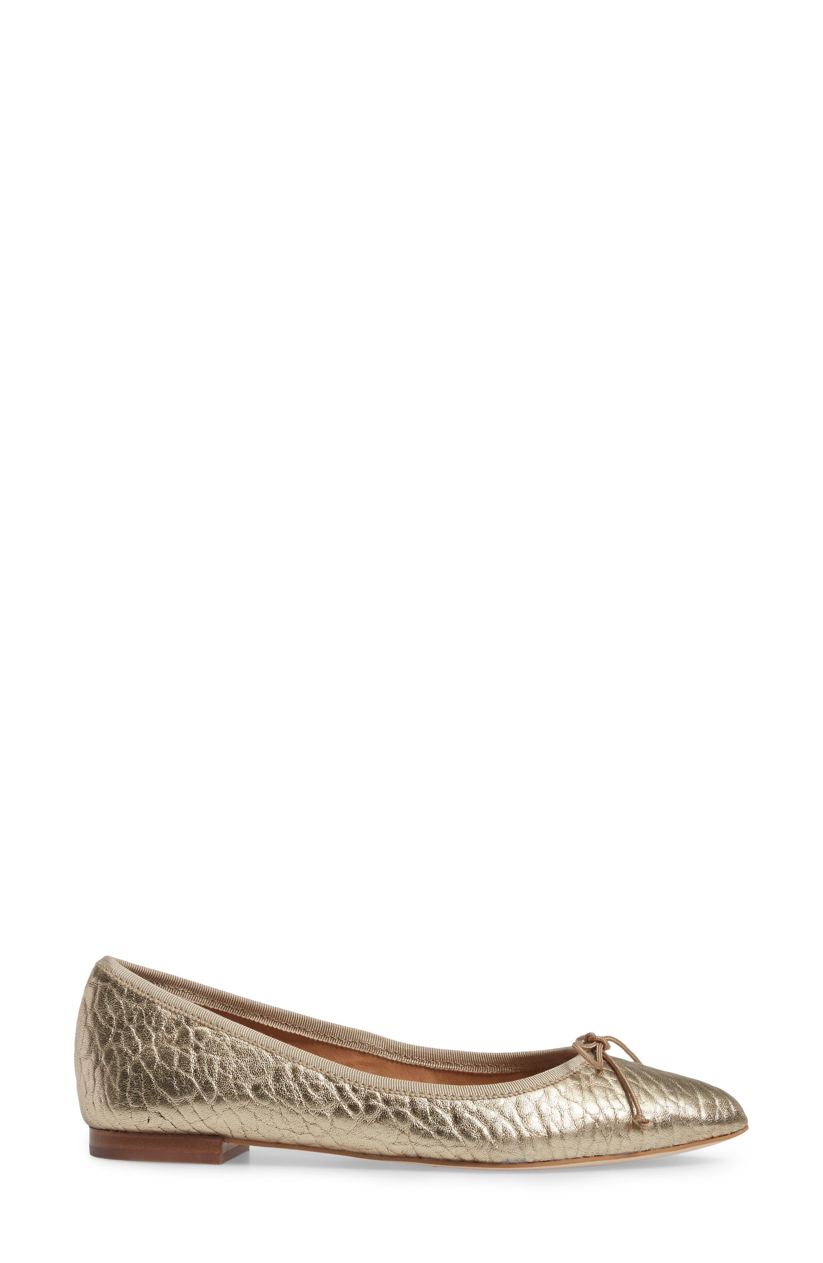 'Recital' Pointy Toe Flat,                             Alternate thumbnail 3, color,                             Platinum Leather
