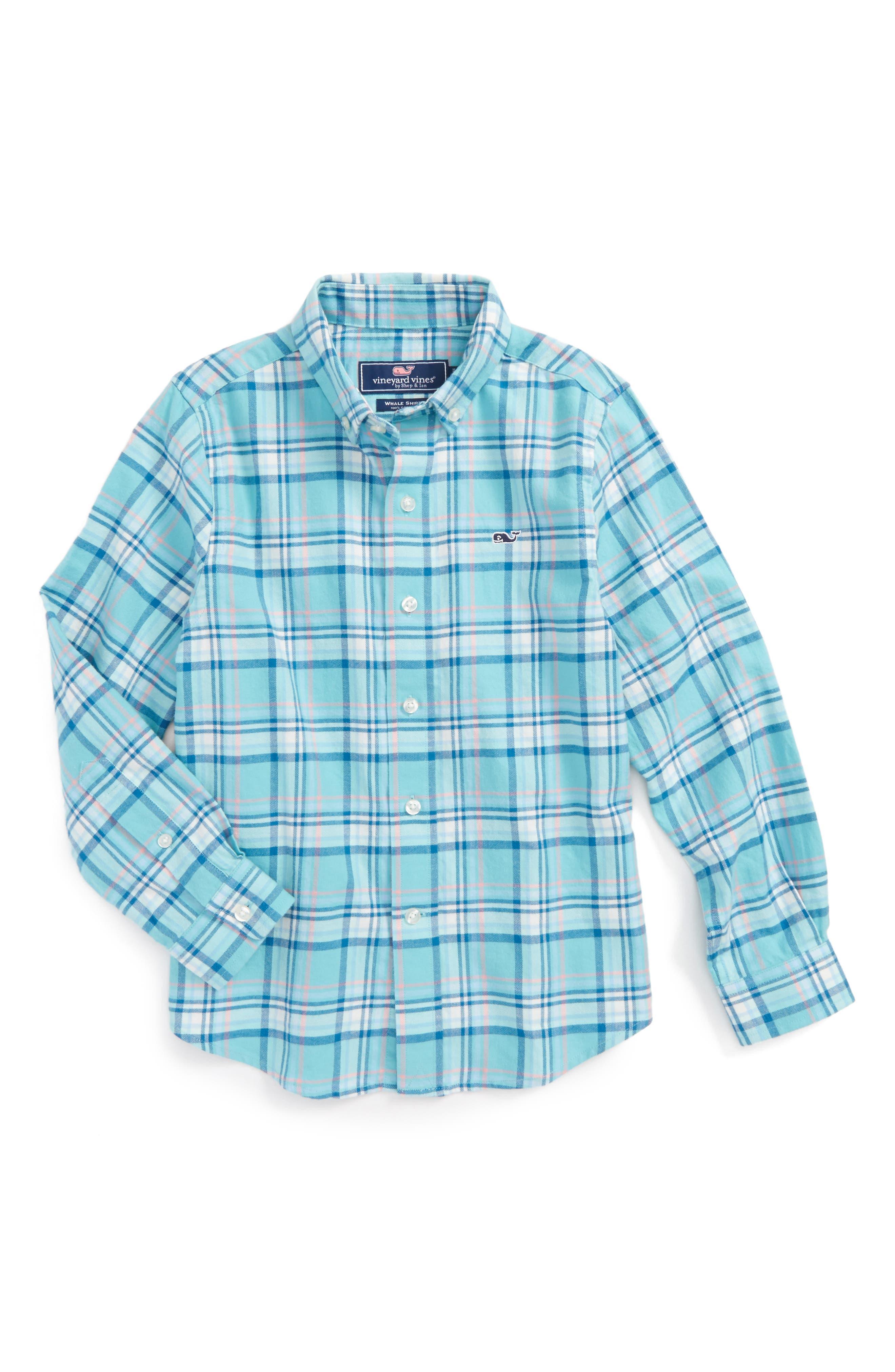Loblolly Plaid Shirt,                         Main,                         color, Aqua Ocean