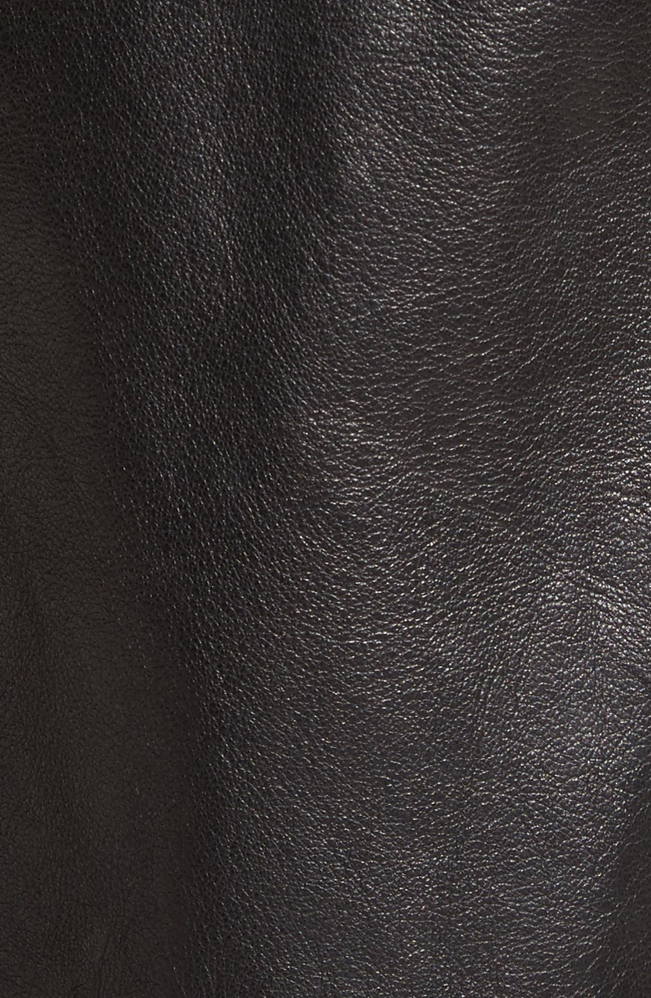 Leather Utility Skirt,                             Alternate thumbnail 5, color,                             Black