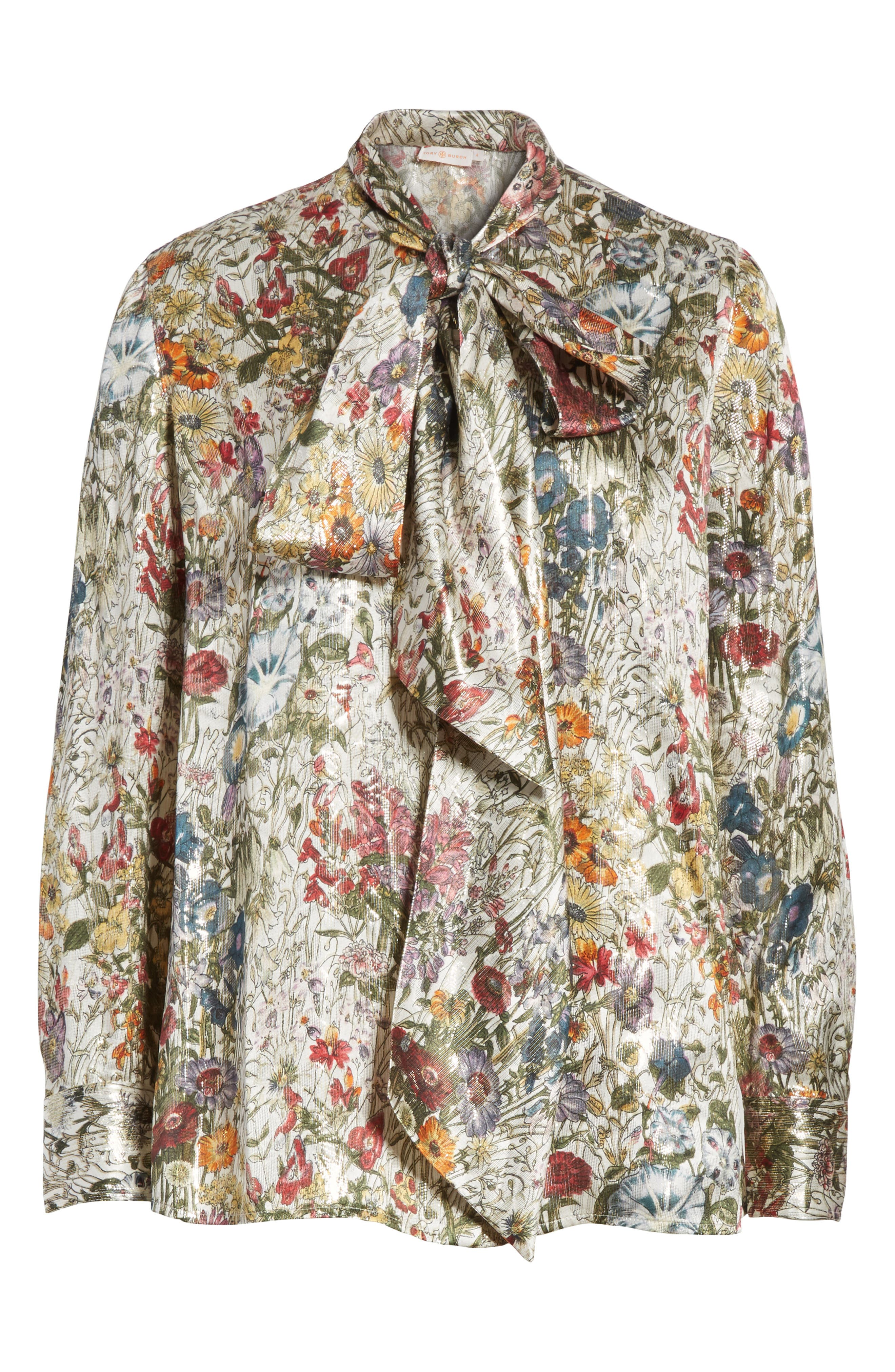 Alternate Image 6  - Tory Burch Tie Neck Metallic Floral Blouse