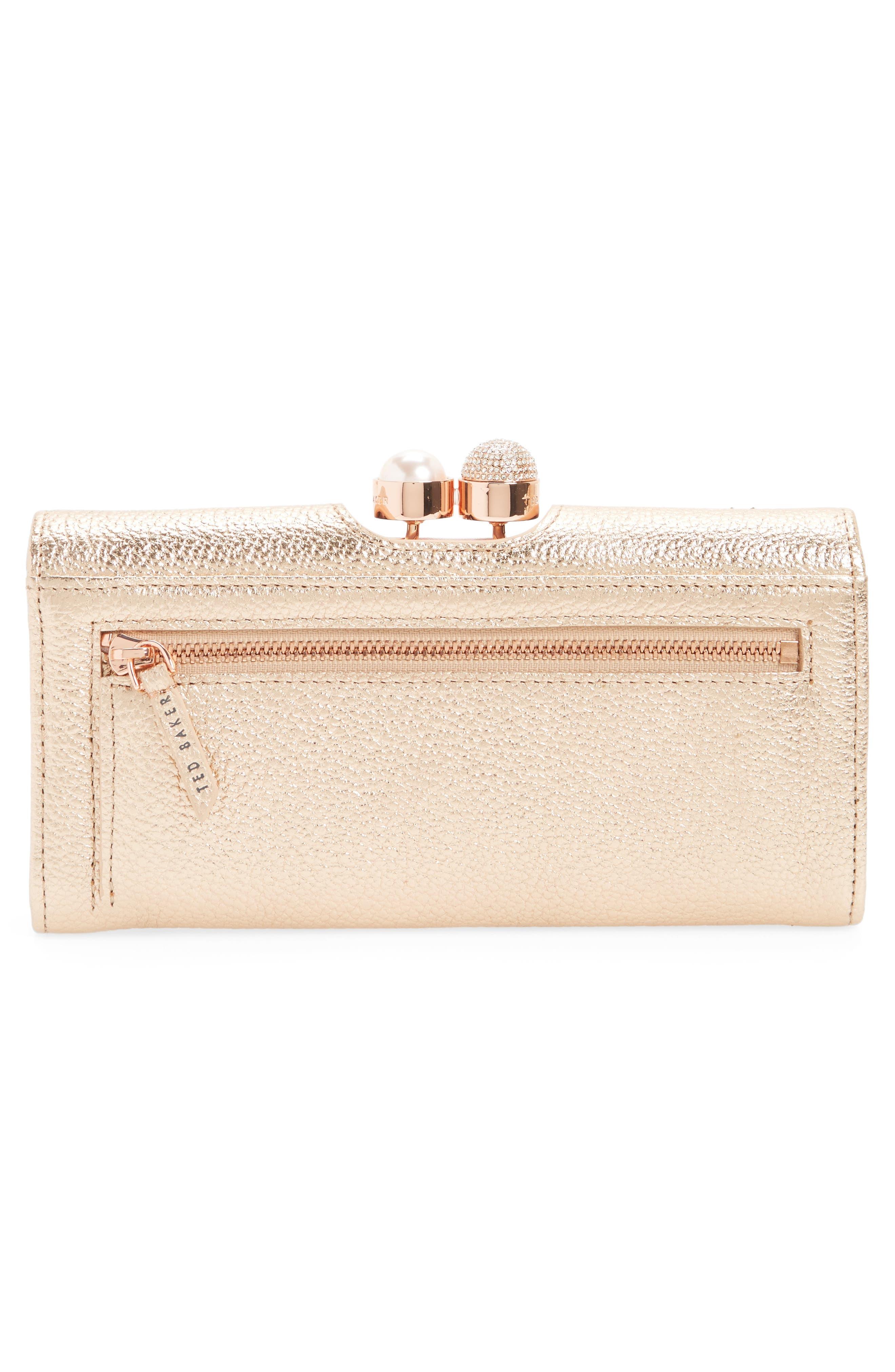 Marta Bobble Matinée Leather Wallet,                             Alternate thumbnail 3, color,                             Rose Gold