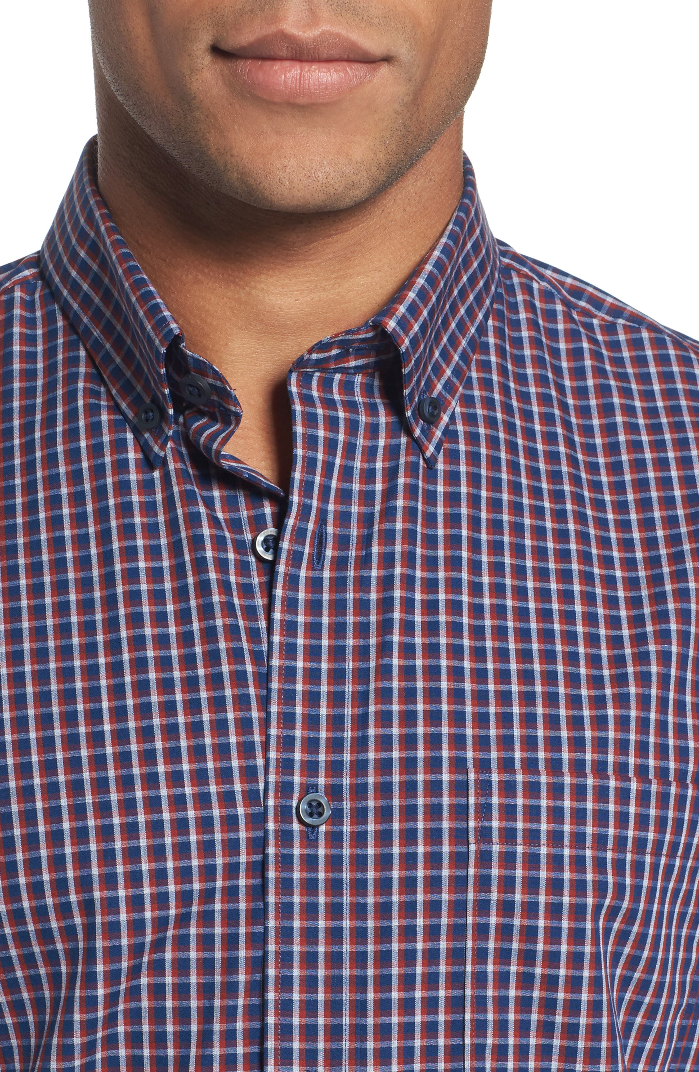 Alternate Image 4  - Nordstrom Men's Shop Slim Fit Non-Iron Mini Check Sport Shirt