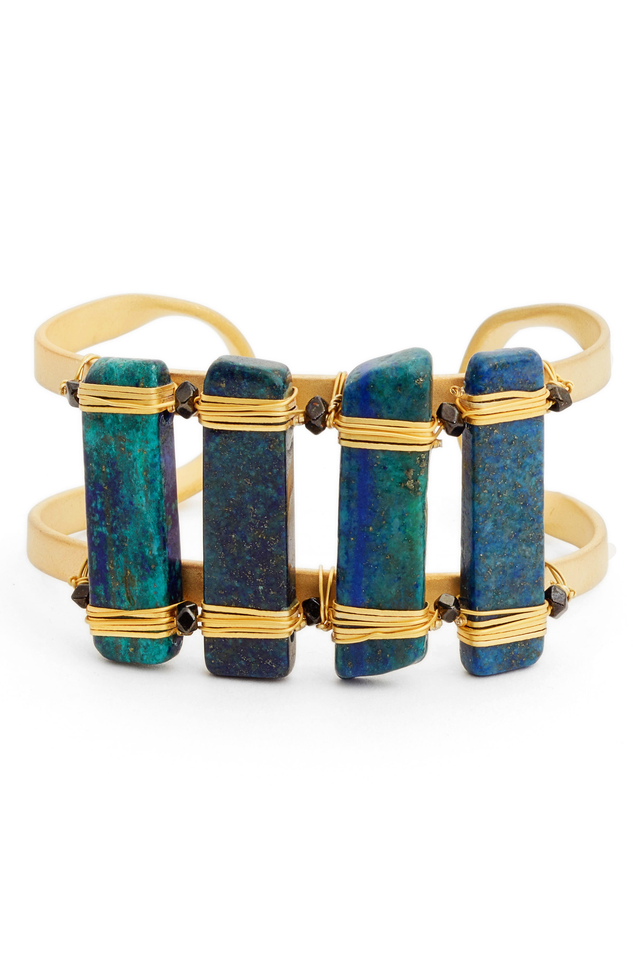 Ahlan Lapis Cuff Bracelet,                         Main,                         color, Blue