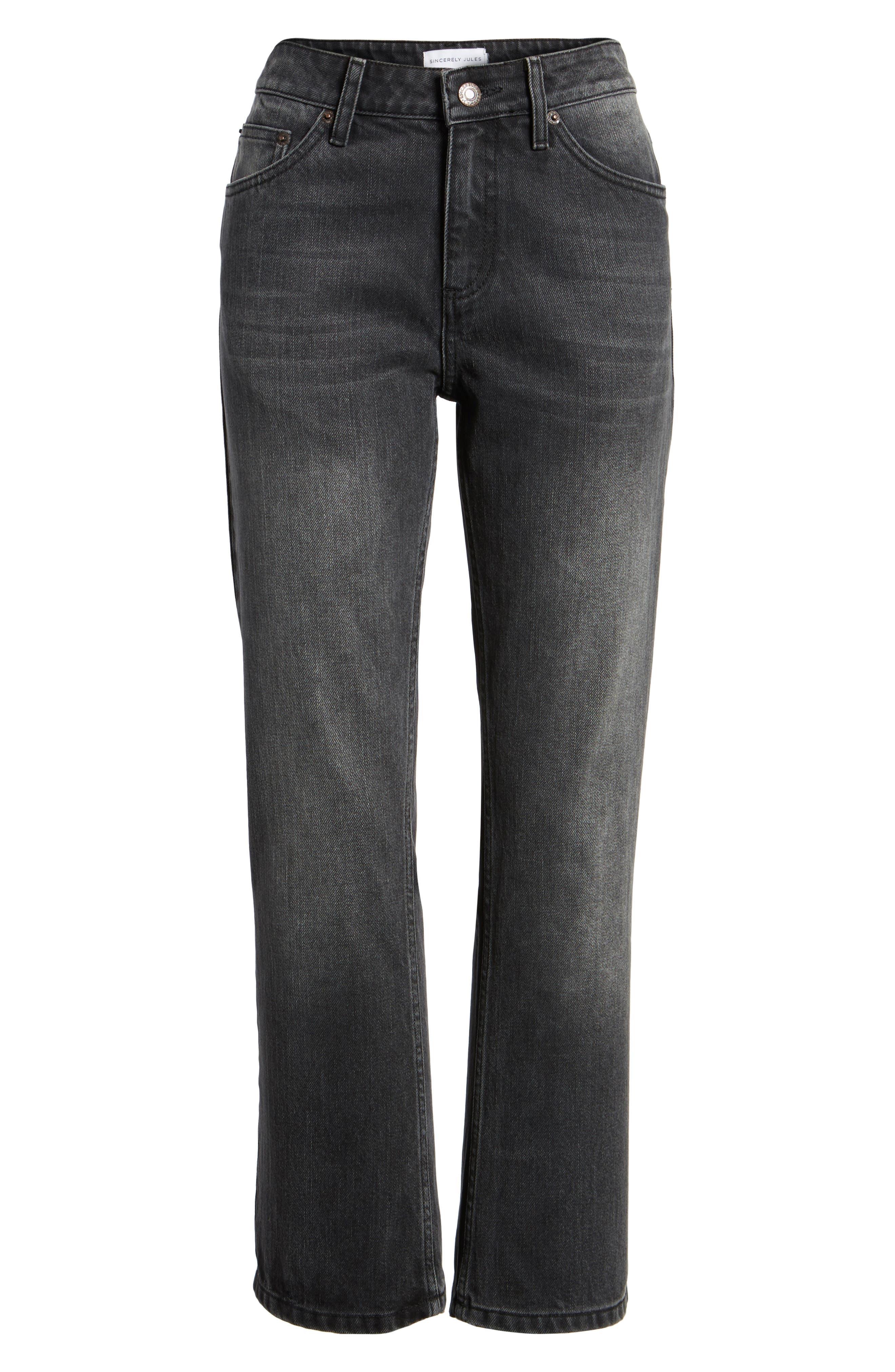 Alternate Image 6  - Sincerely Jules High Waist Crop Flare Jeans (Washed Black)