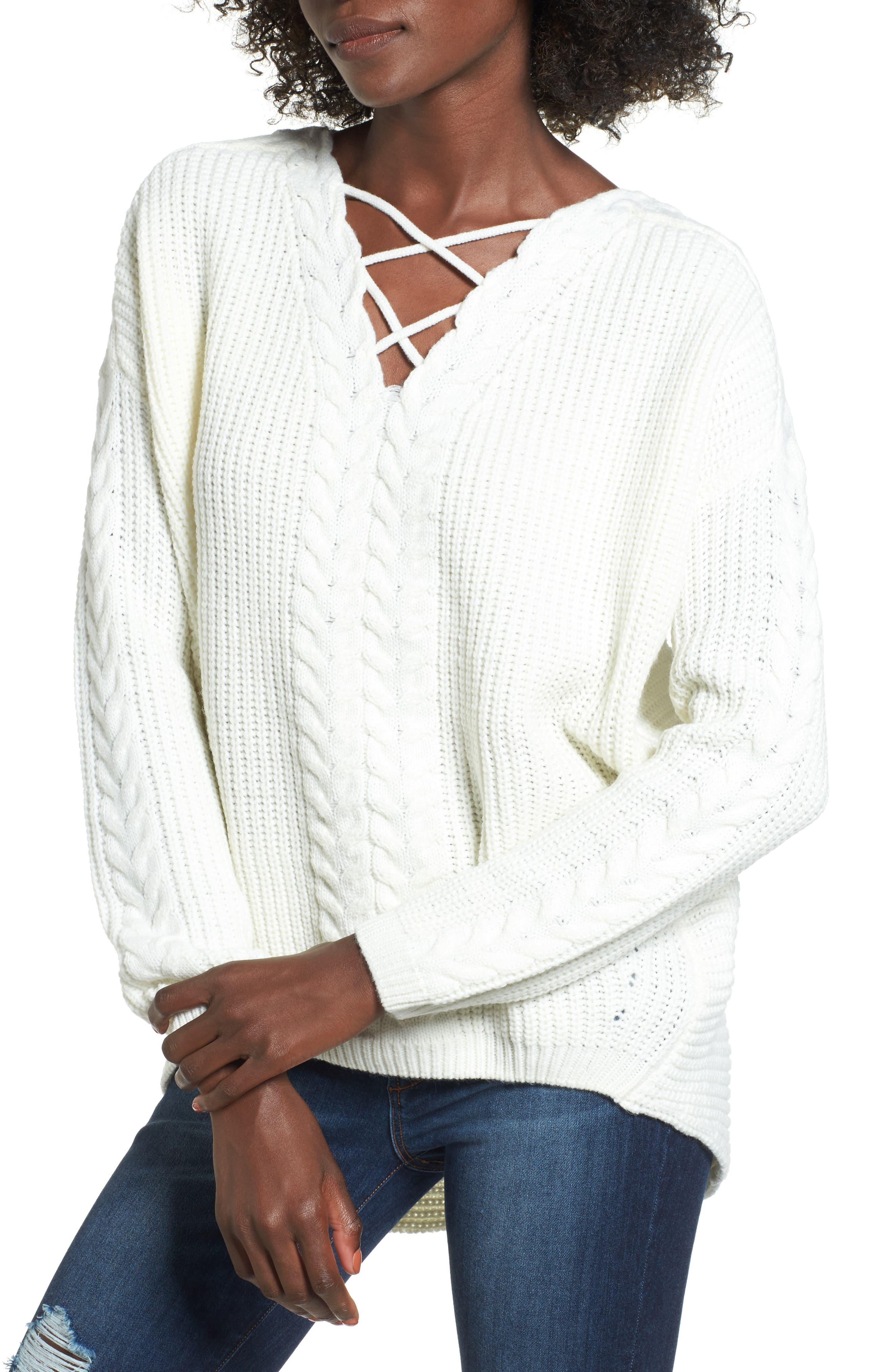 Alternate Image 1 Selected - Love by Design Cross Front Braided Sweater