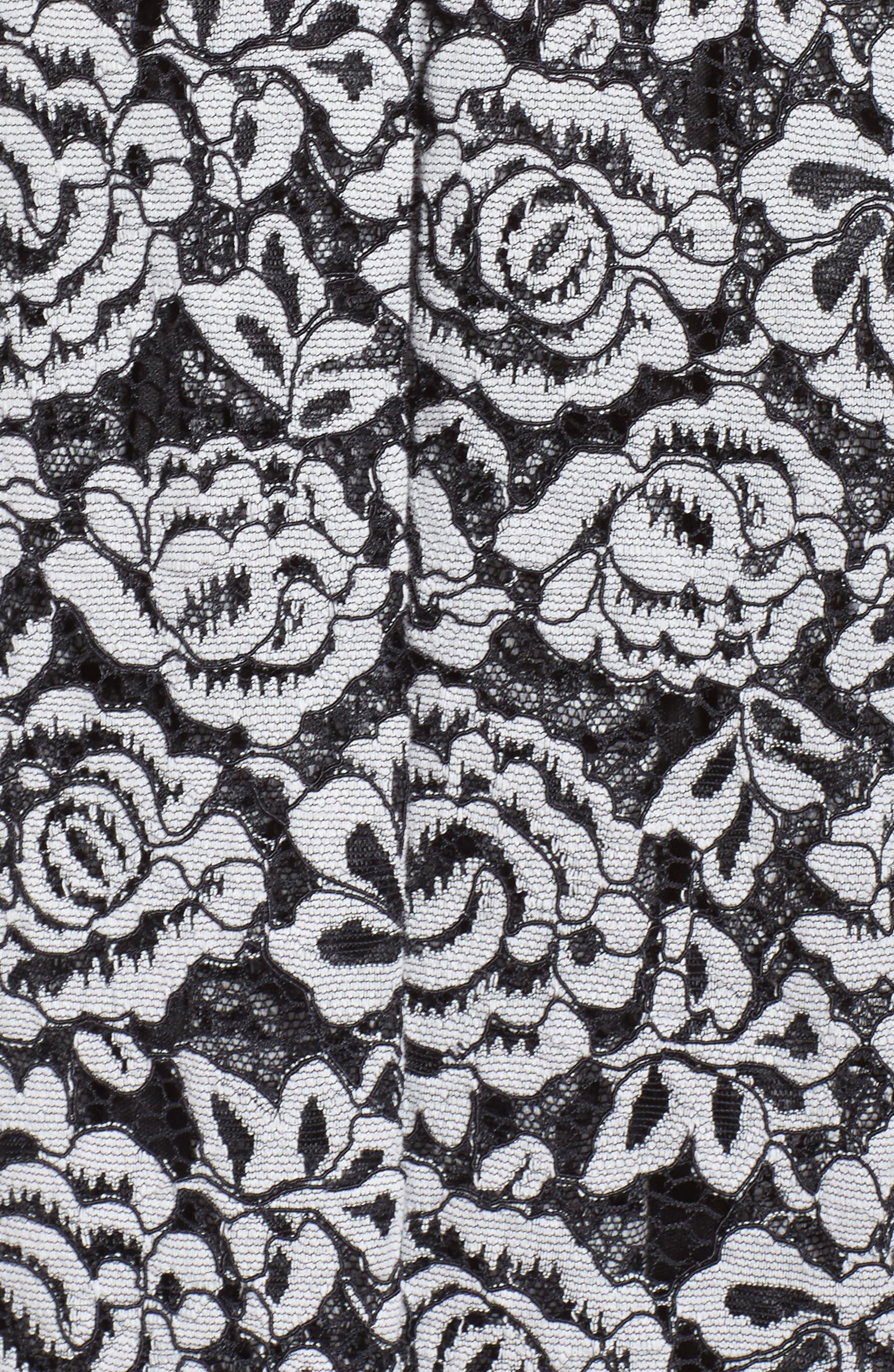 Lace Fit & Flare Dress,                             Alternate thumbnail 5, color,                             Black/ White
