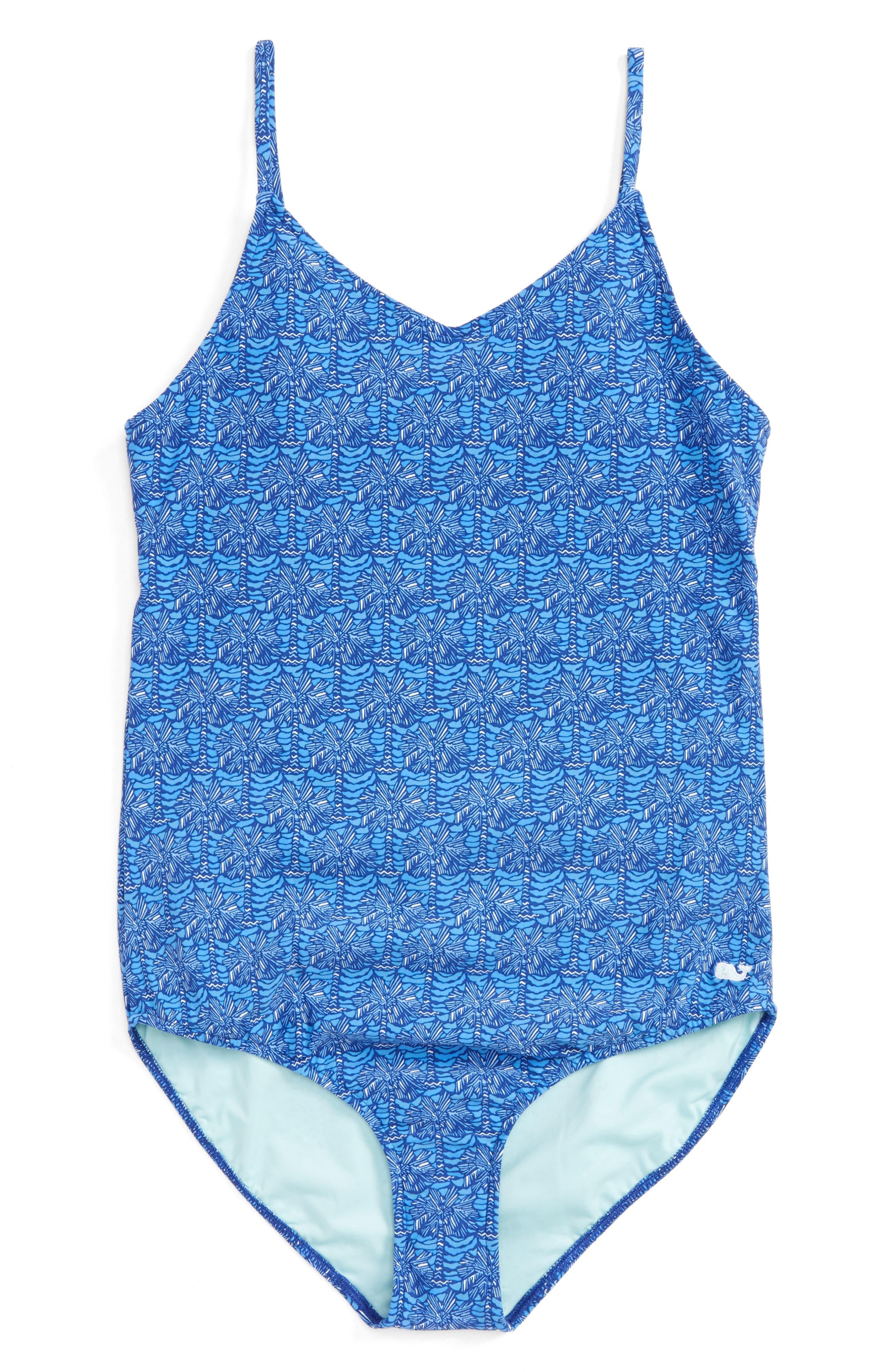 Palmetto Print One-Piece Swimsuit,                         Main,                         color, Royal Ocean