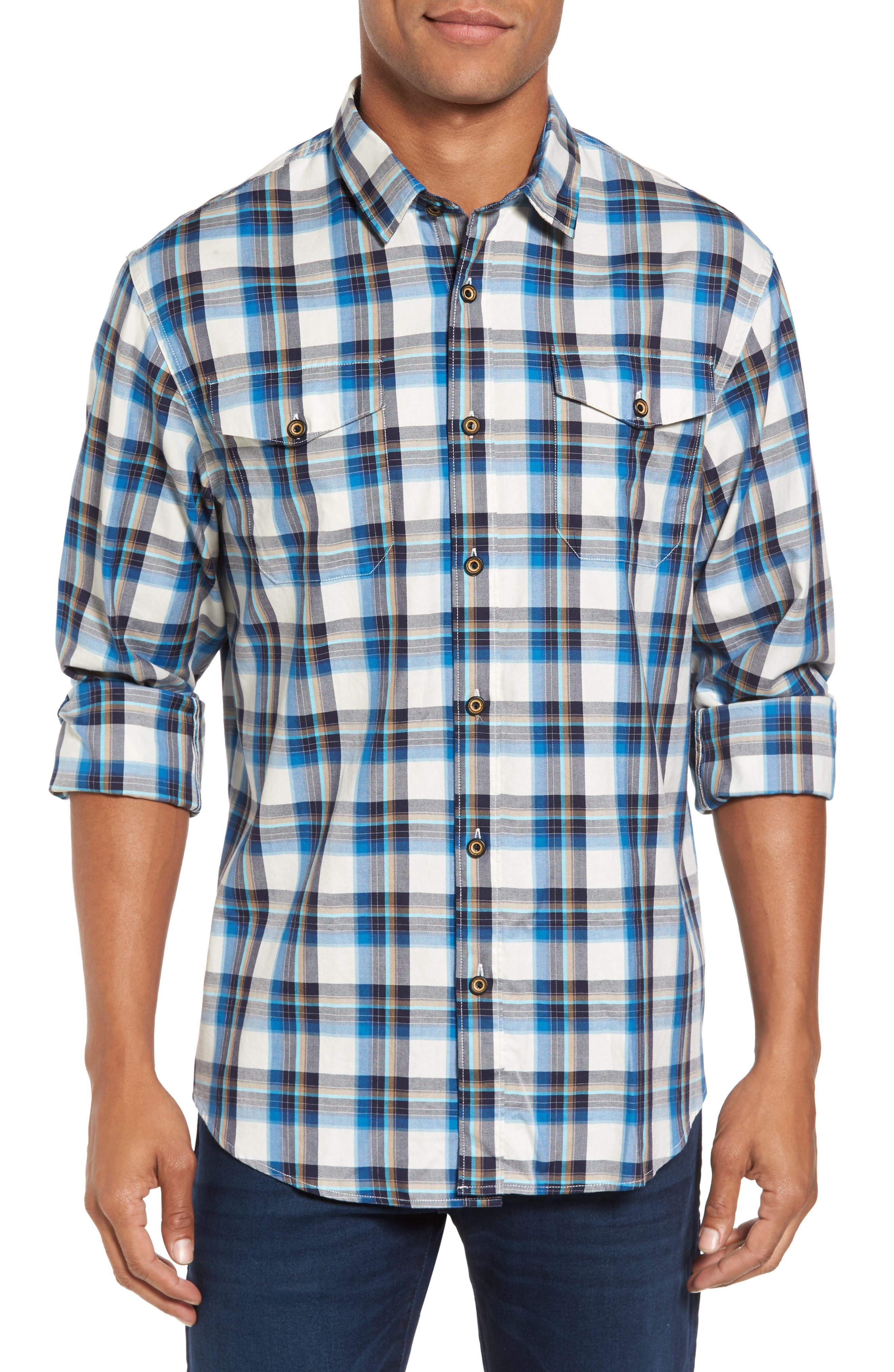 Seacliff Plaid Flannel Shirt,                         Main,                         color, Aqua