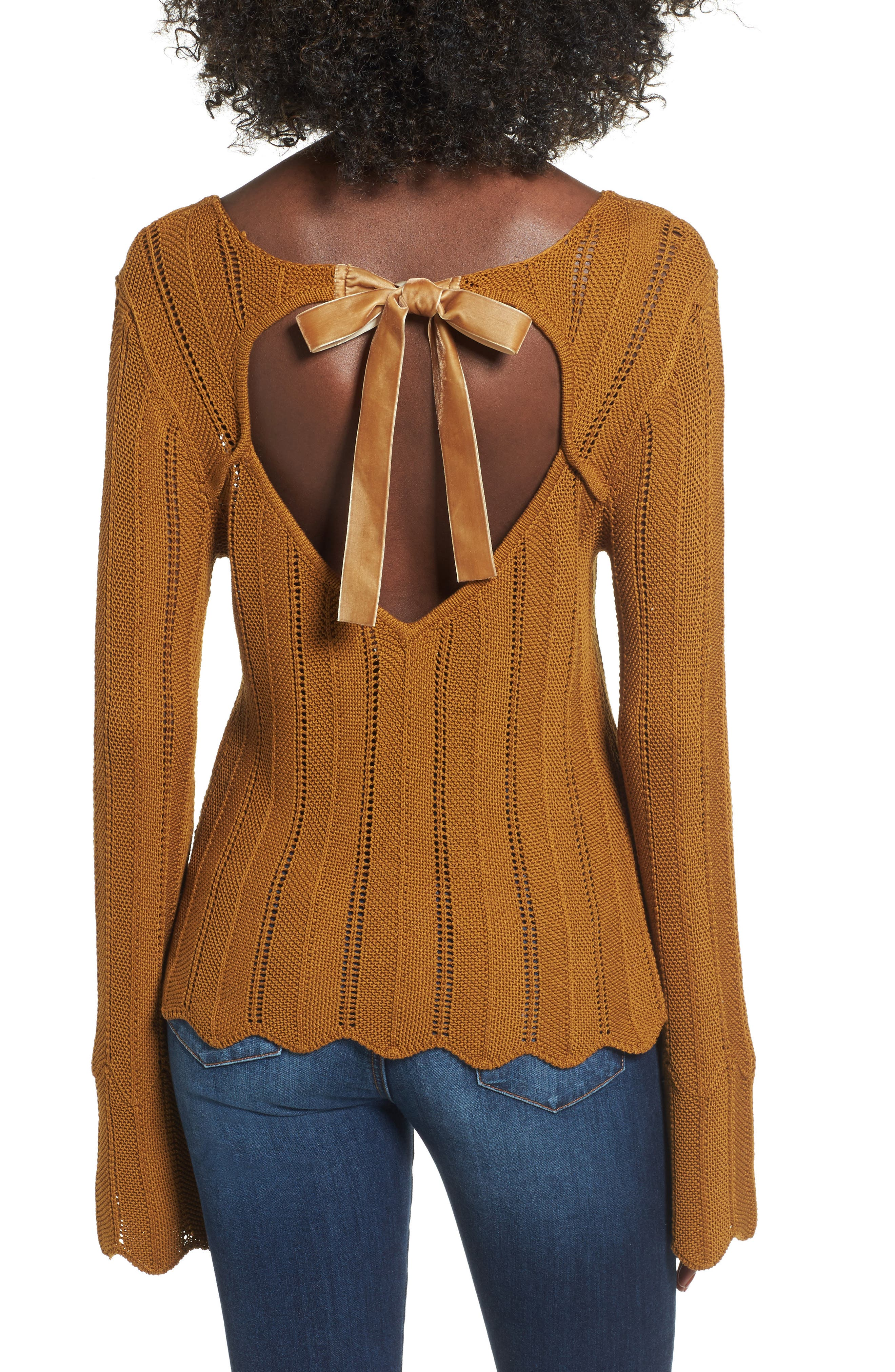 Robbie Tie Back Sweater,                             Alternate thumbnail 2, color,                             Rust