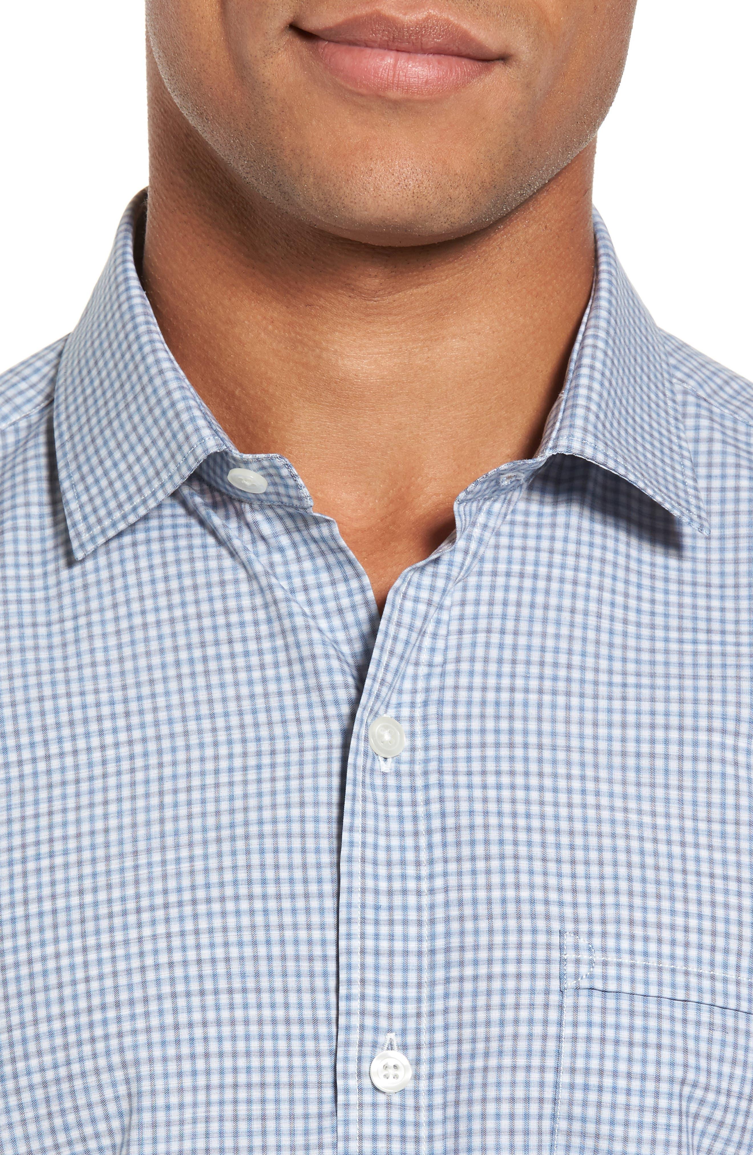 Slim Fit Plaid Sport Shirt,                             Alternate thumbnail 4, color,                             Blue