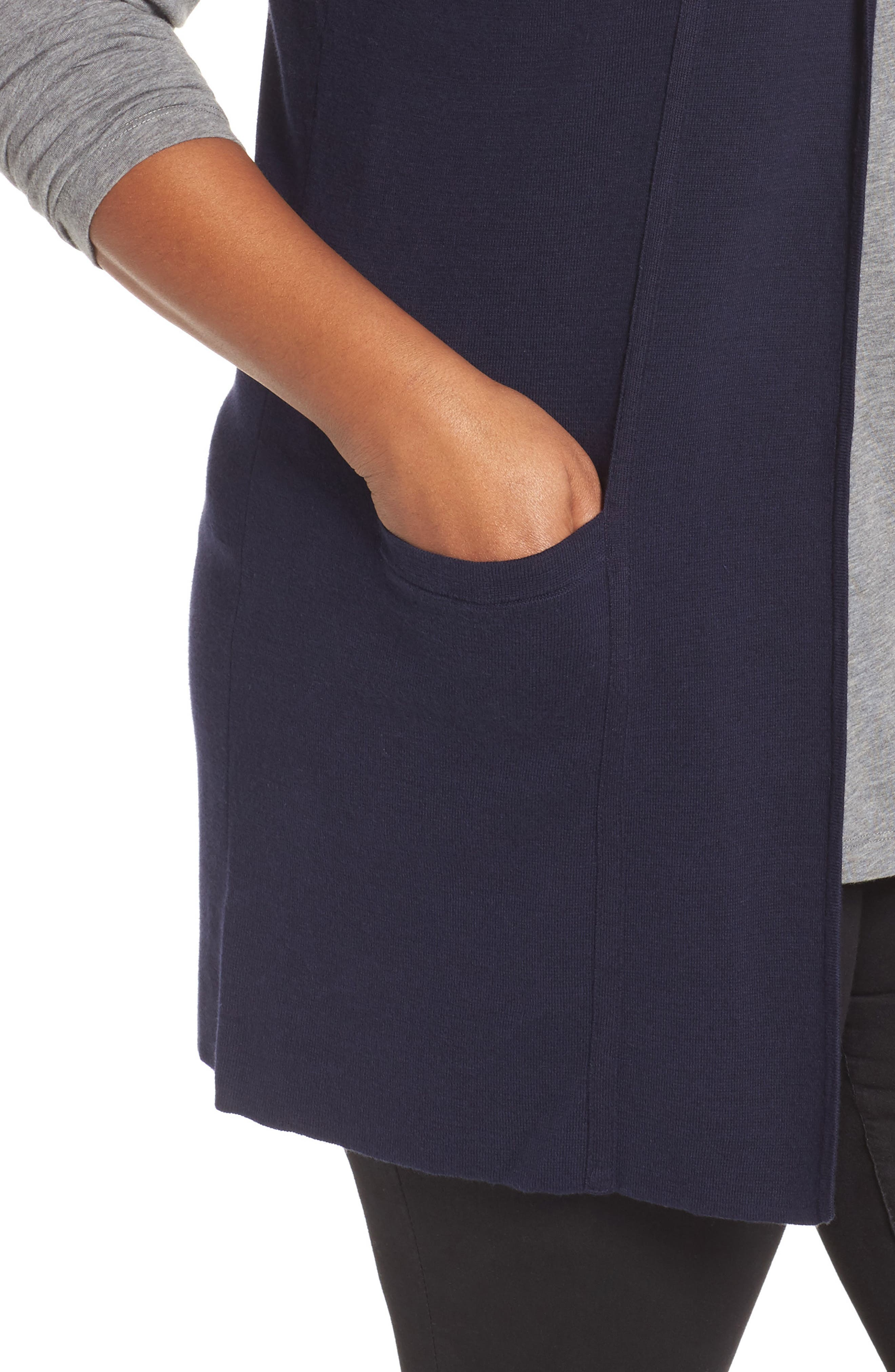 Alternate Image 4  - Foxcroft Jodi Longline Sweater Vest (Plus Size)