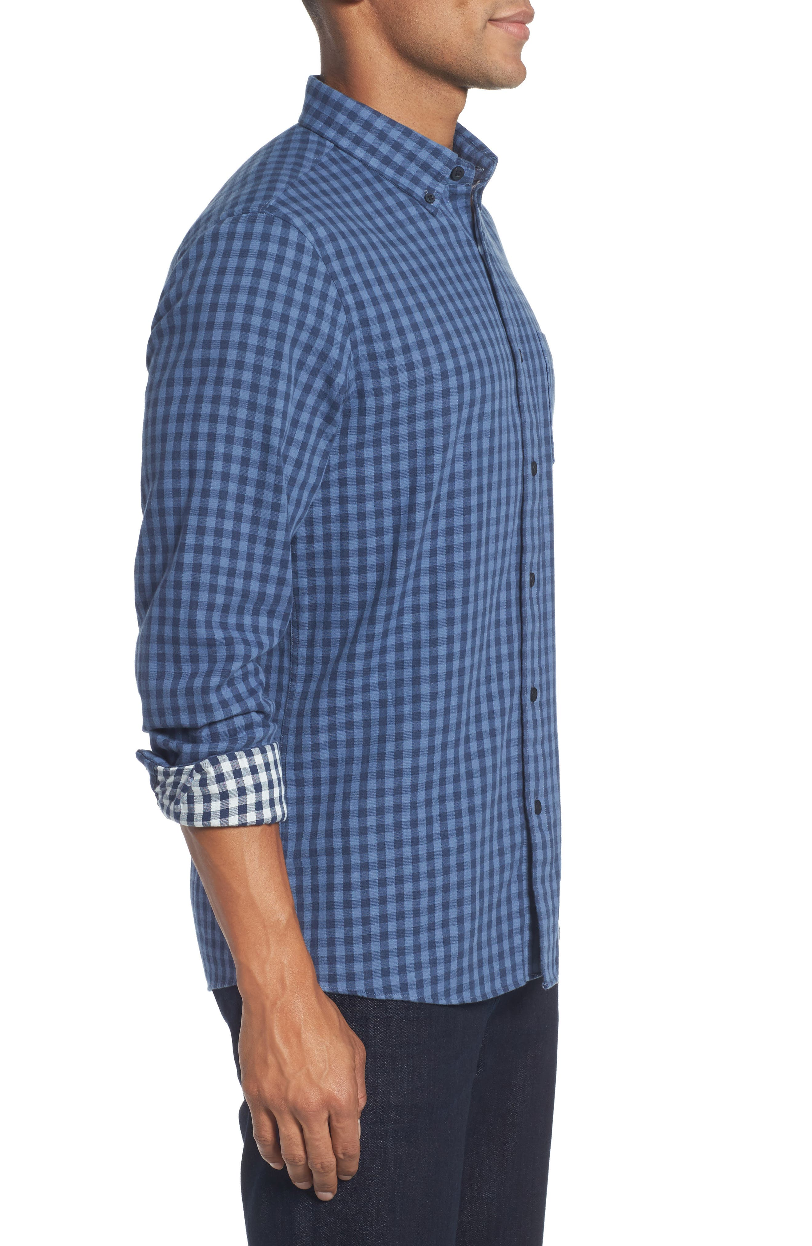 Trim Fit Duofold Check Sport Shirt,                             Alternate thumbnail 3, color,                             Blue Canal Navy Plaid Duofold
