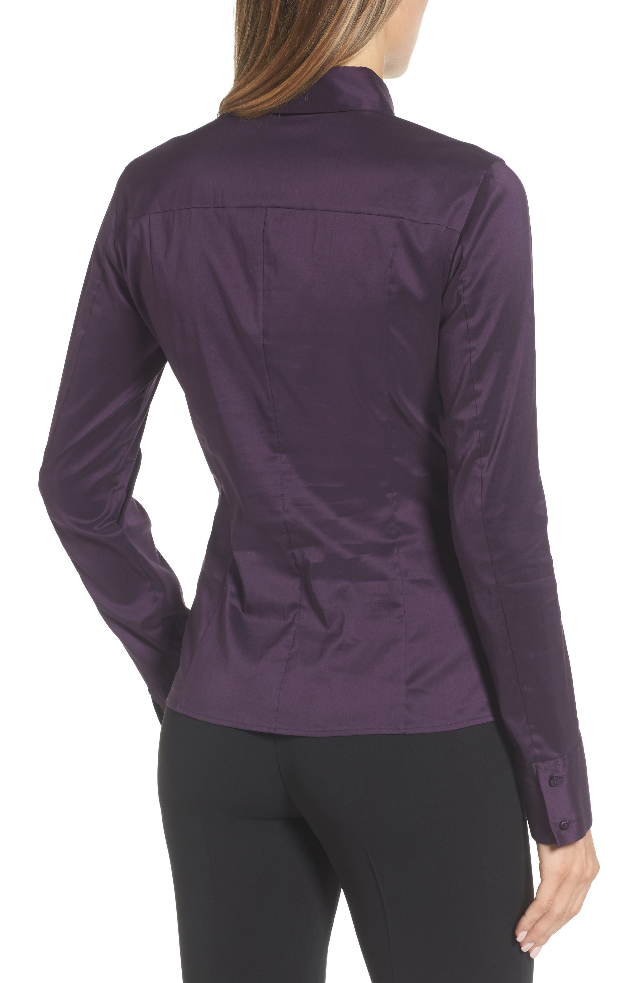 Bashina Fitted Stretch Poplin Shirt,                             Alternate thumbnail 2, color,                             Dark Dahlia
