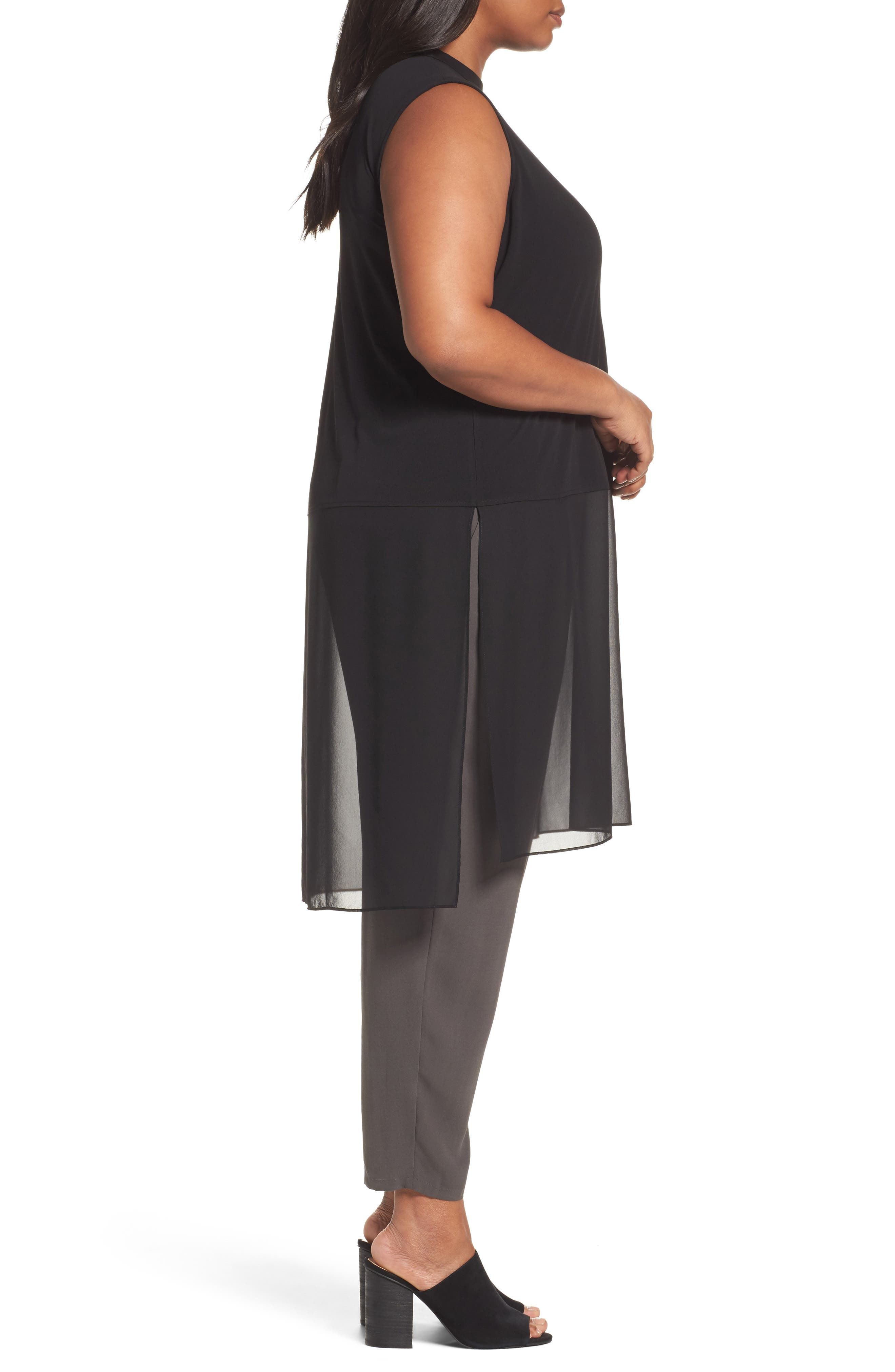 Alternate Image 3  - Eileen Fisher Silk Jersey & Chiffon Tunic (Plus Size)