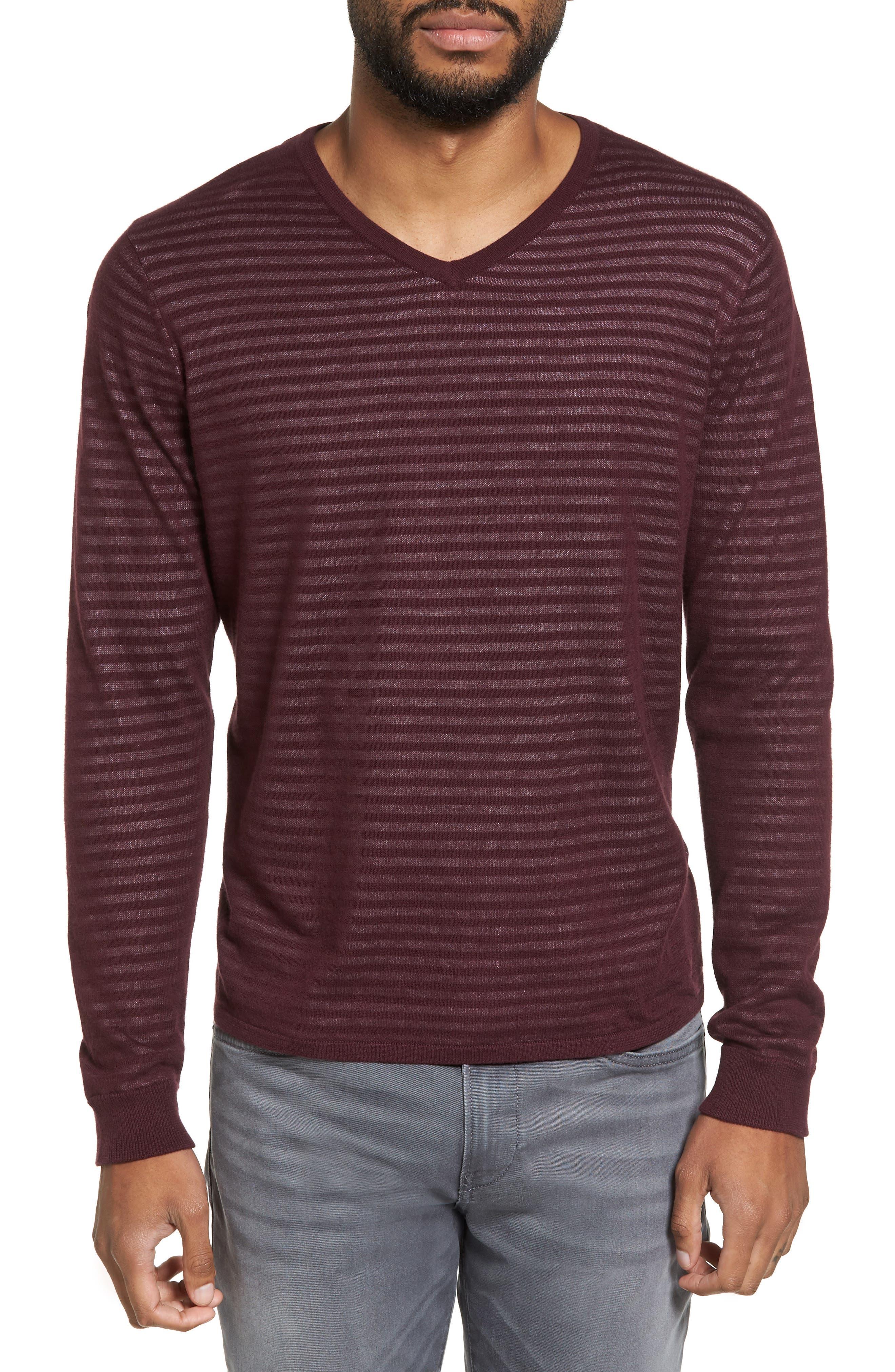 Stripe V-Neck Double Layer Sweater,                         Main,                         color, Burgundy Stem Stripe