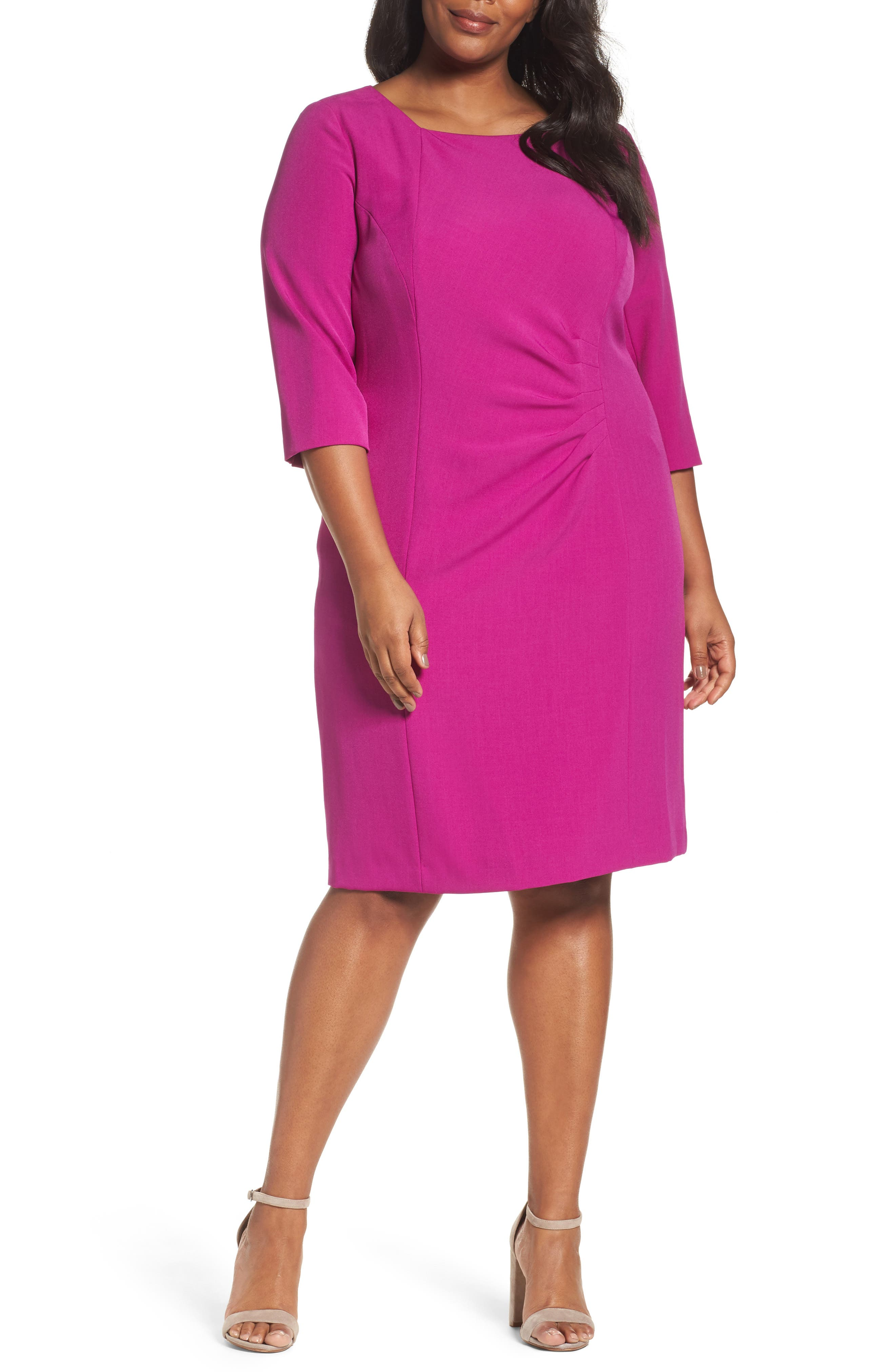Tahari Ruched Sheath Dress (Plus Size)