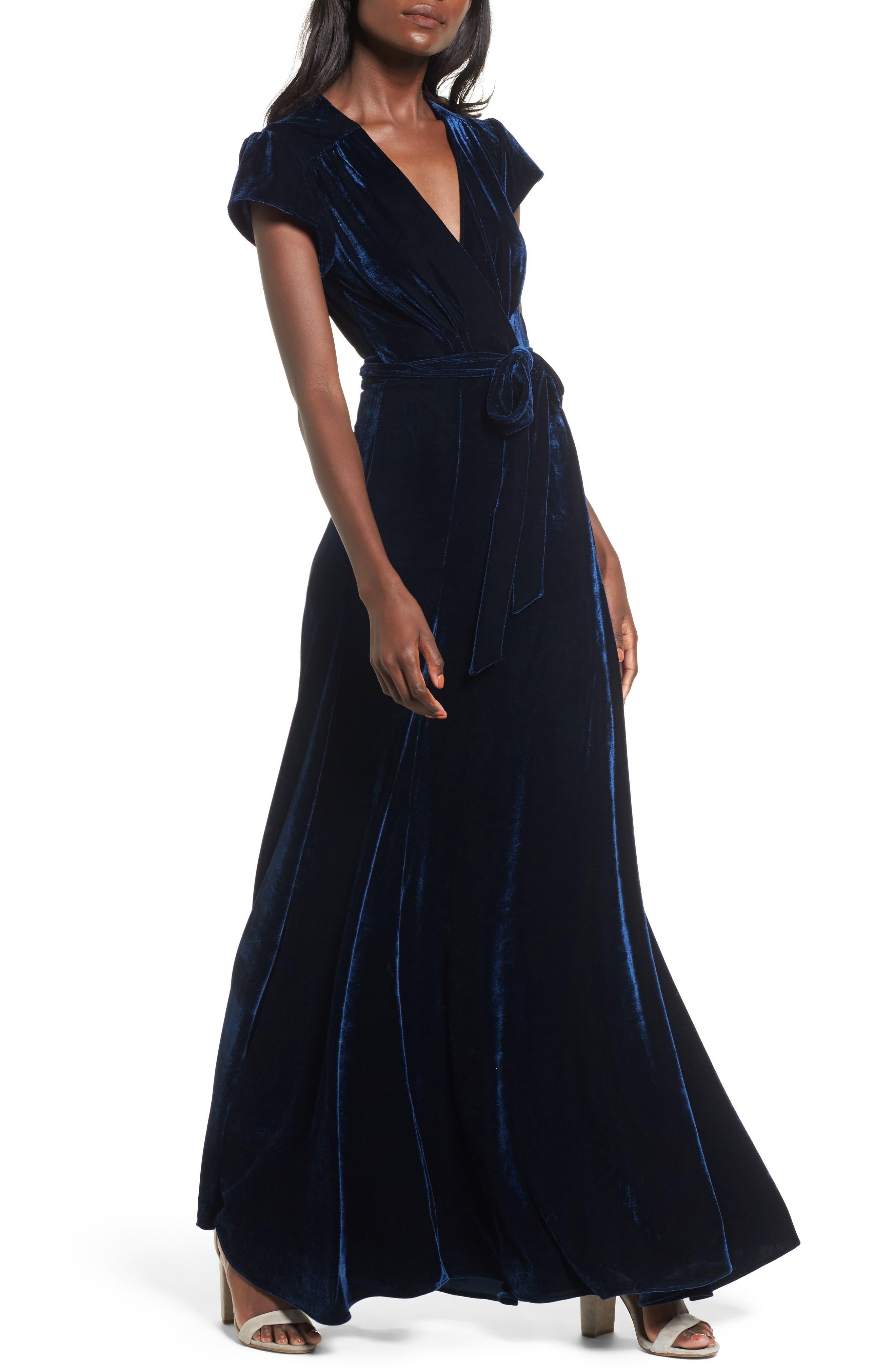 Tularosa Sid Velvet Wrap Maxi Dress