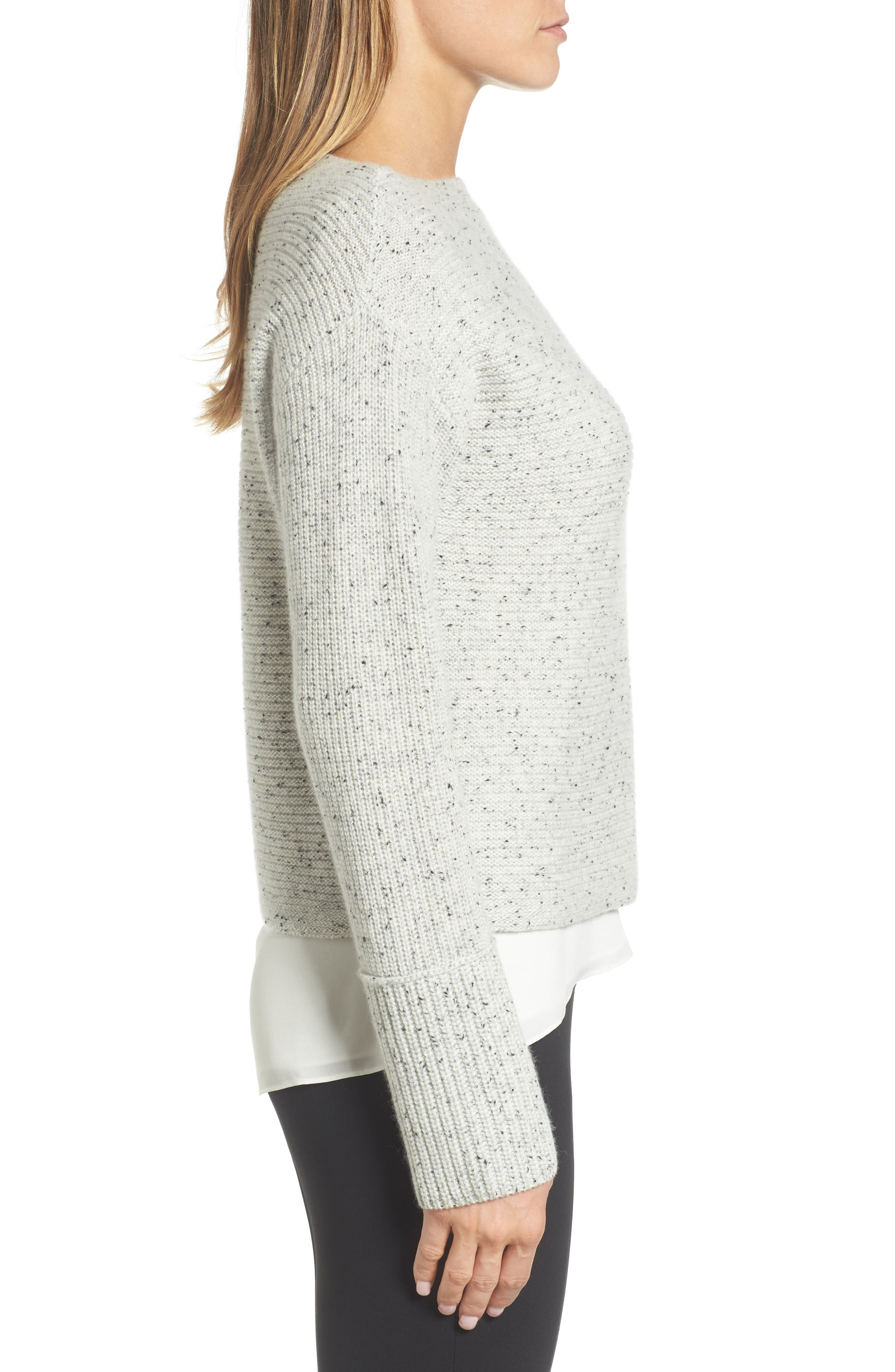 Textured Cashmere Sweater,                             Alternate thumbnail 3, color,                             Grey Clay Tweed