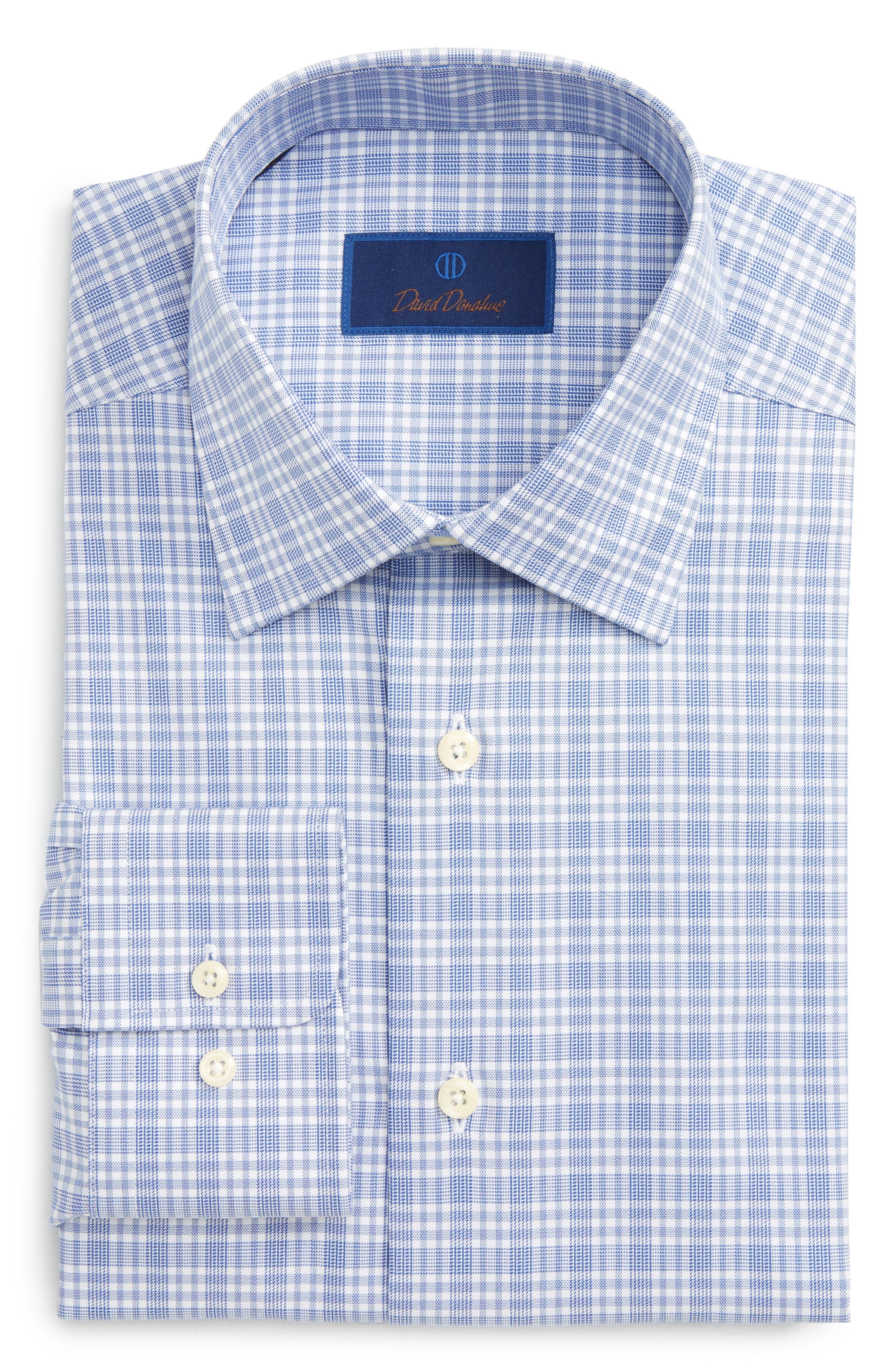 Main Image - David Donahue Regular Fit Plaid Dress Shirt