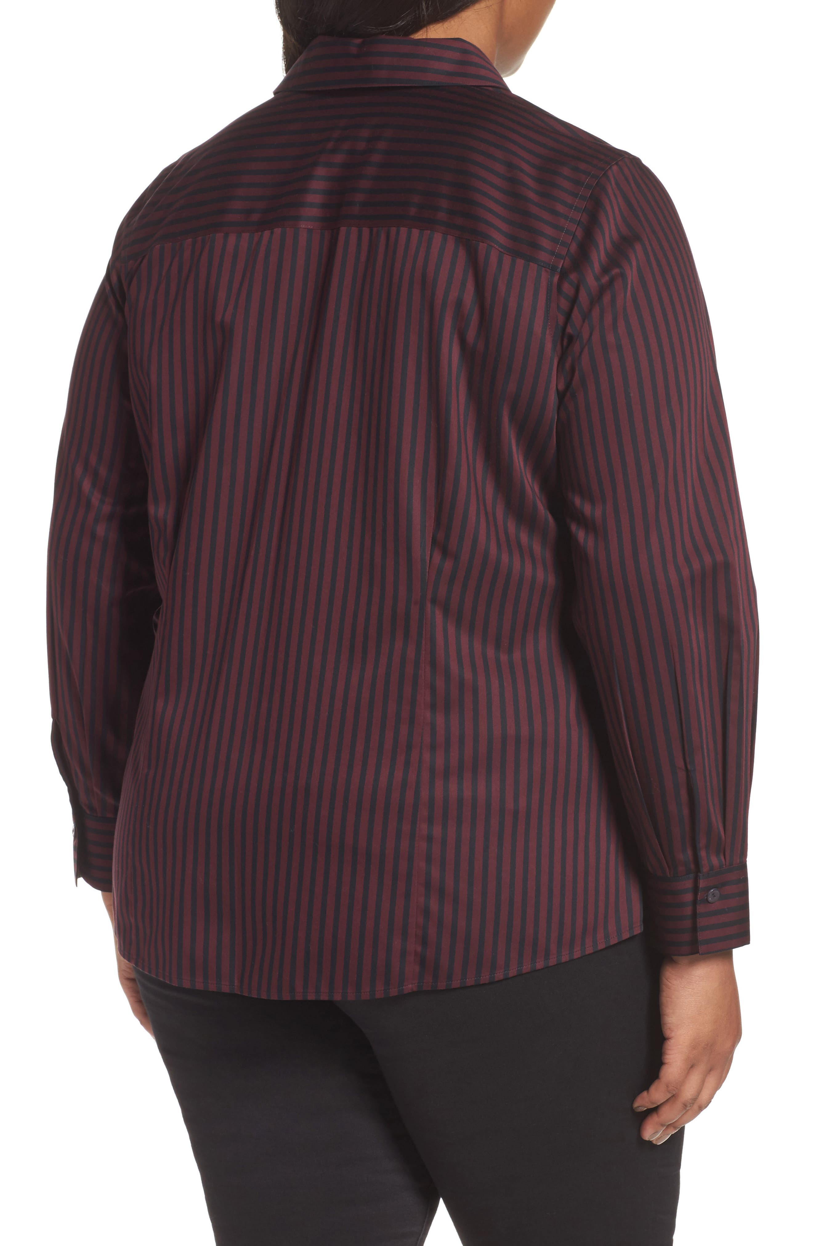Alternate Image 2  - Foxcroft Casey Stripe Sateen Blouse (Plus Size)